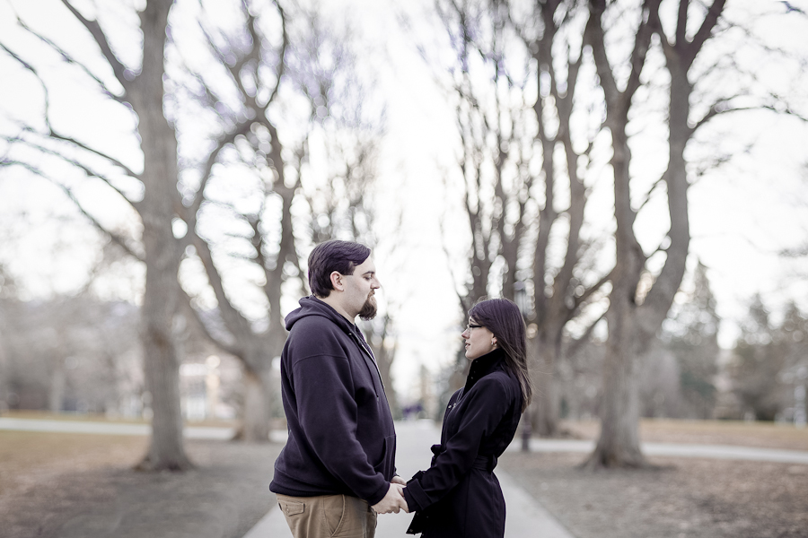 university of idaho campus trees engagement photos