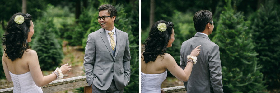 13 wedding first look trinity tree farm