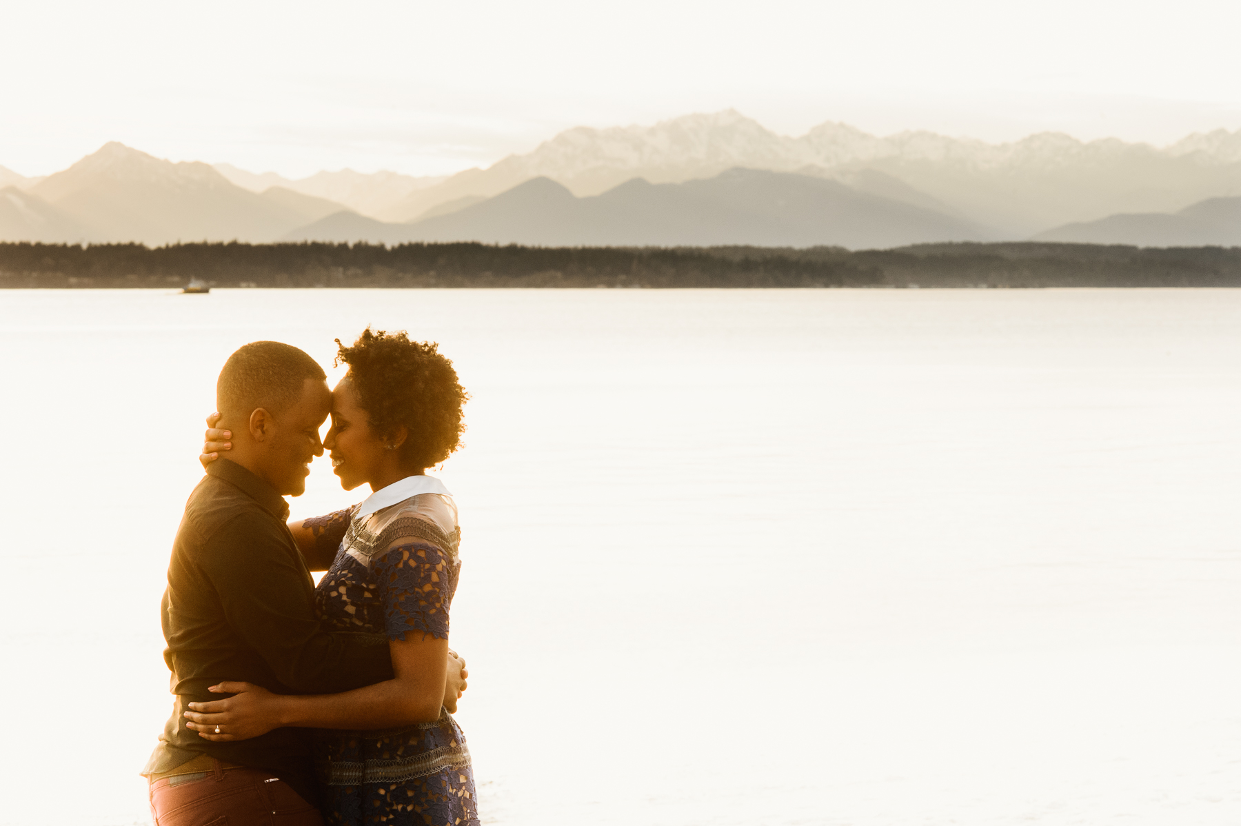 olympic mountains sunset engagement
