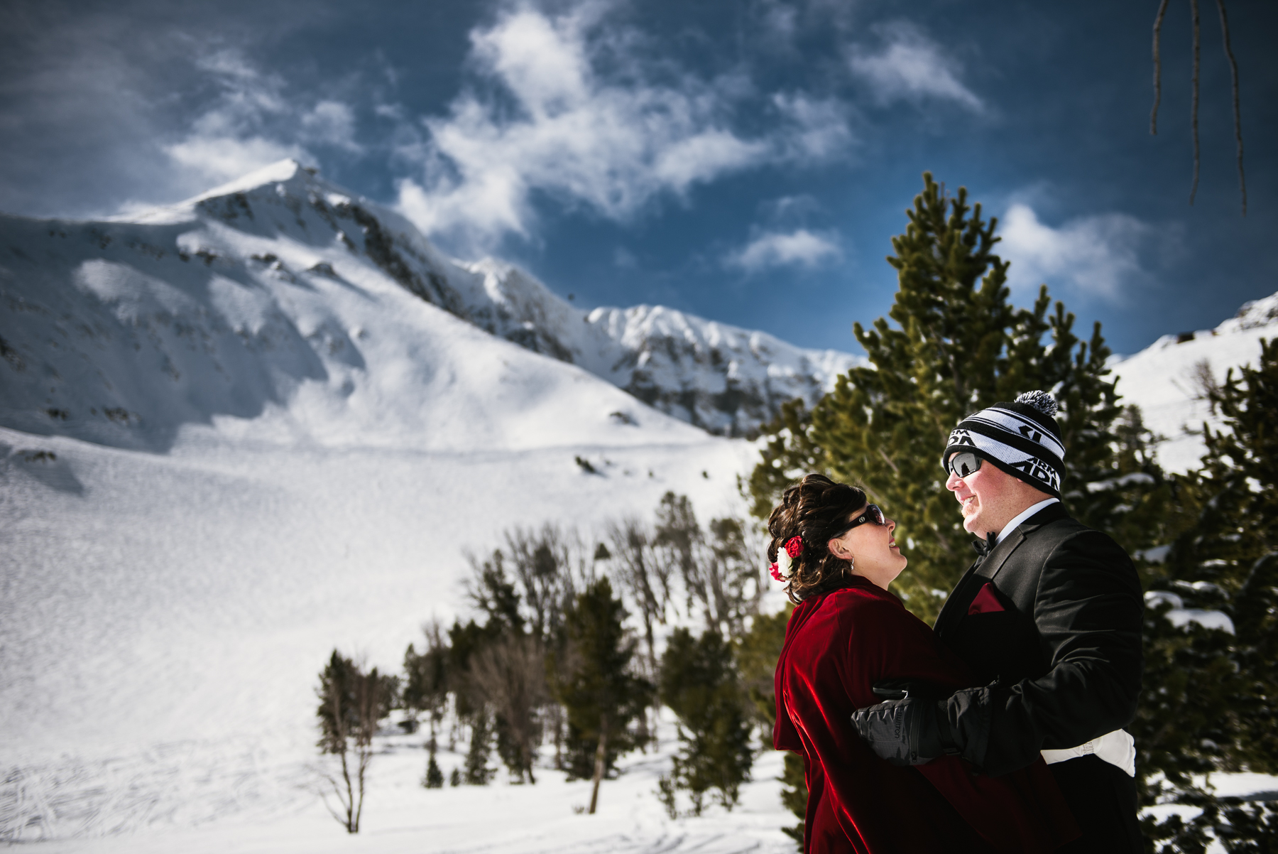 big sky mountain bride and groom