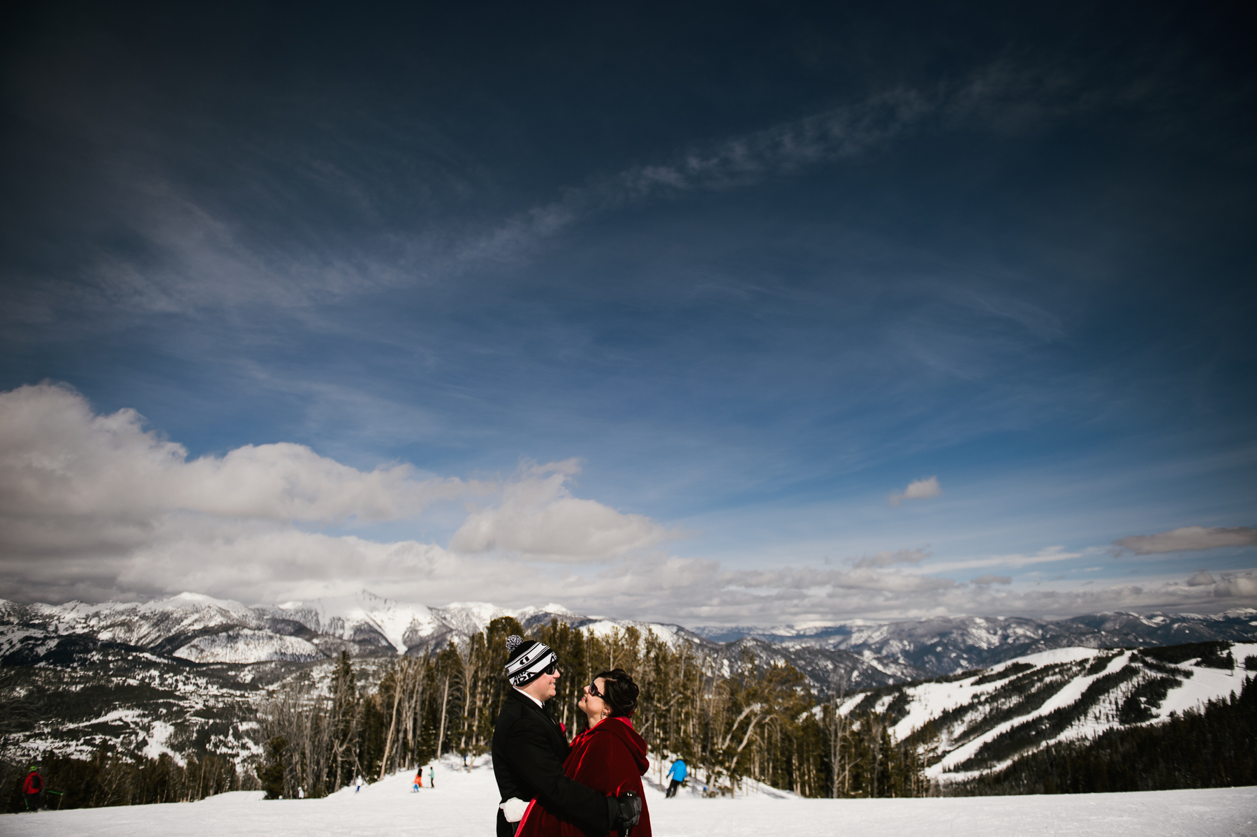 bride and groom big sky landscape