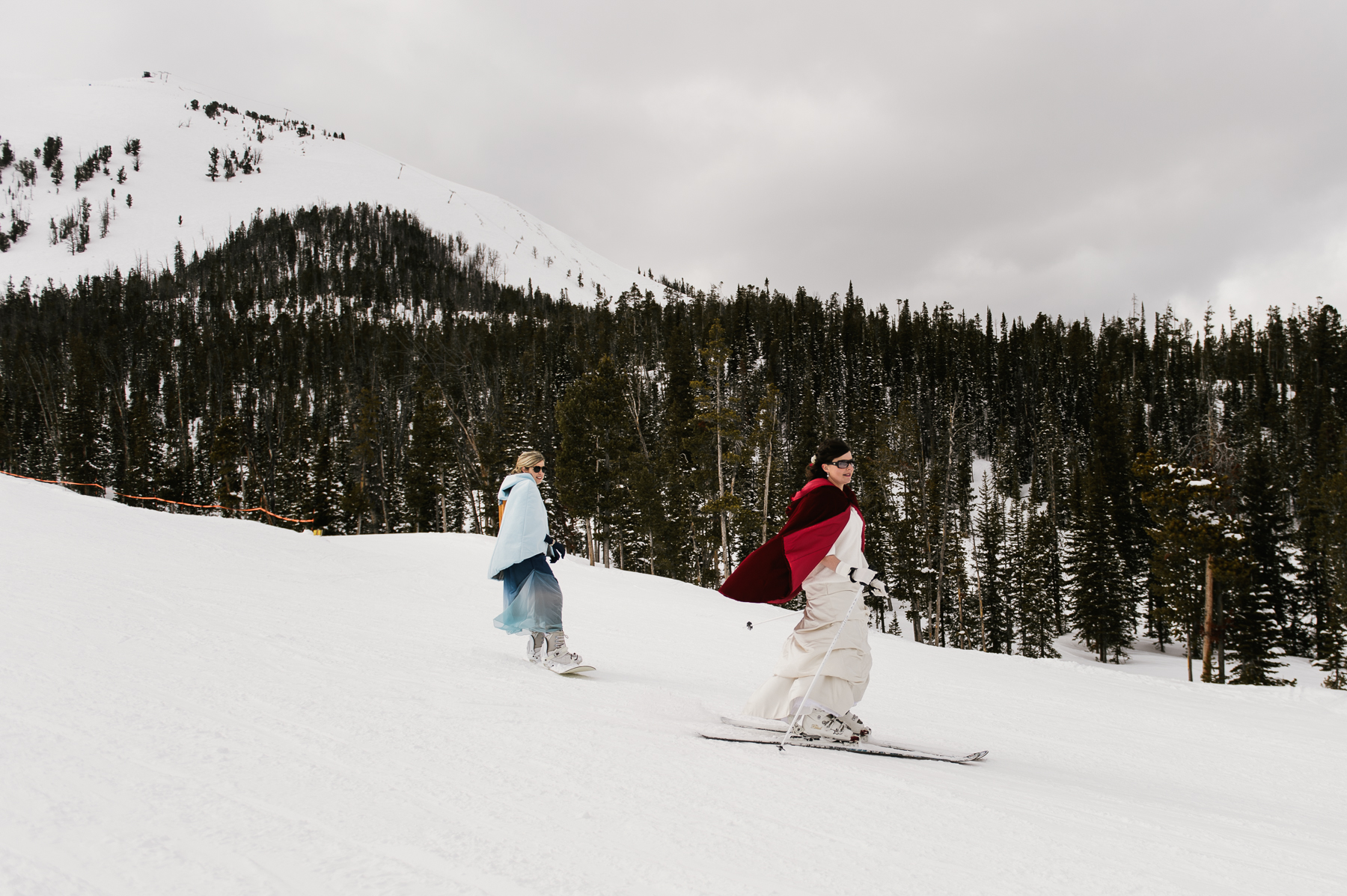 bridesmaids skiing big sky