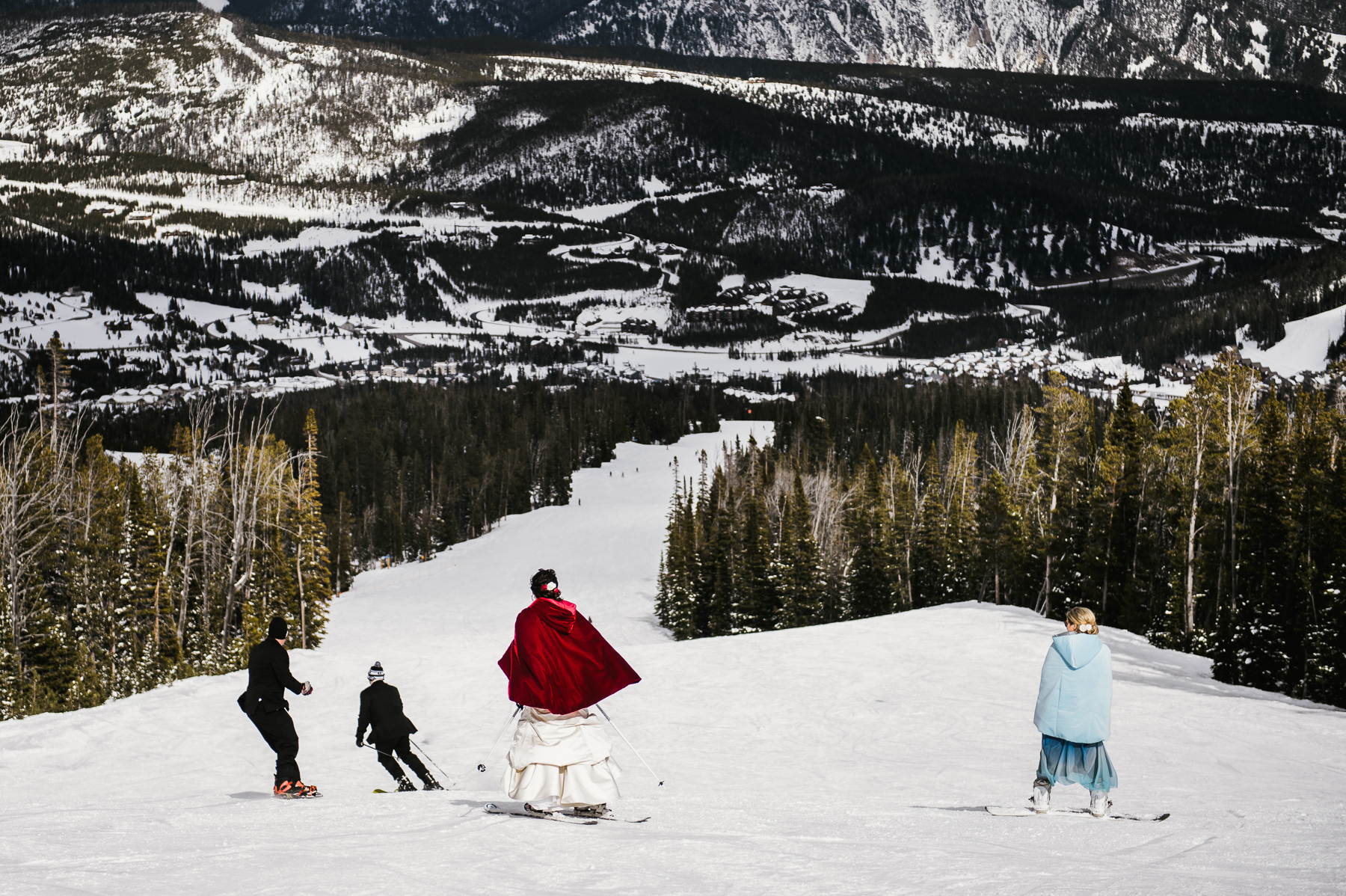 bridal party skiing