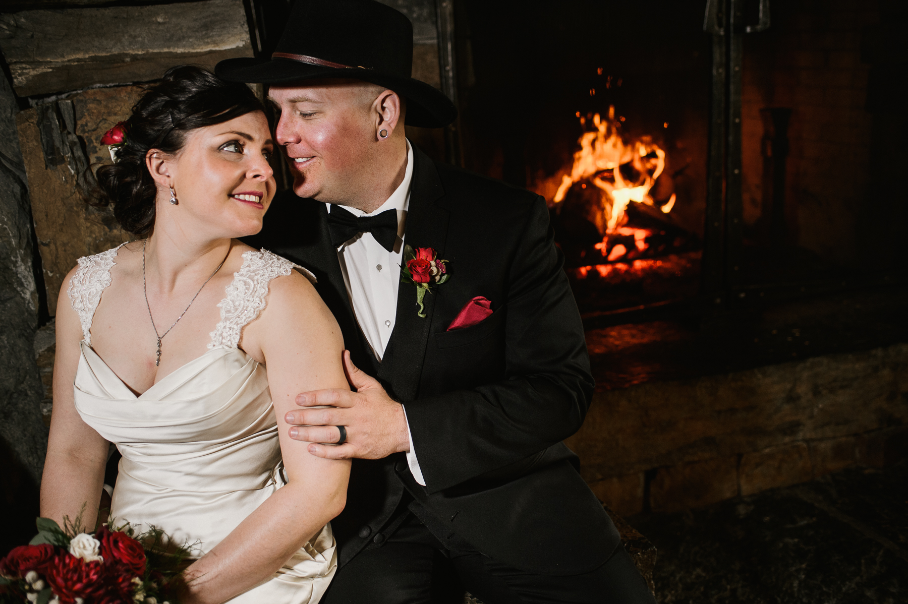 moonlight lodge tavern fire place bride and groom