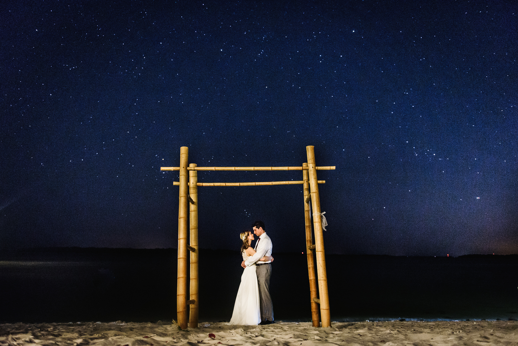 sanibel wedding dramatic night sky portrait