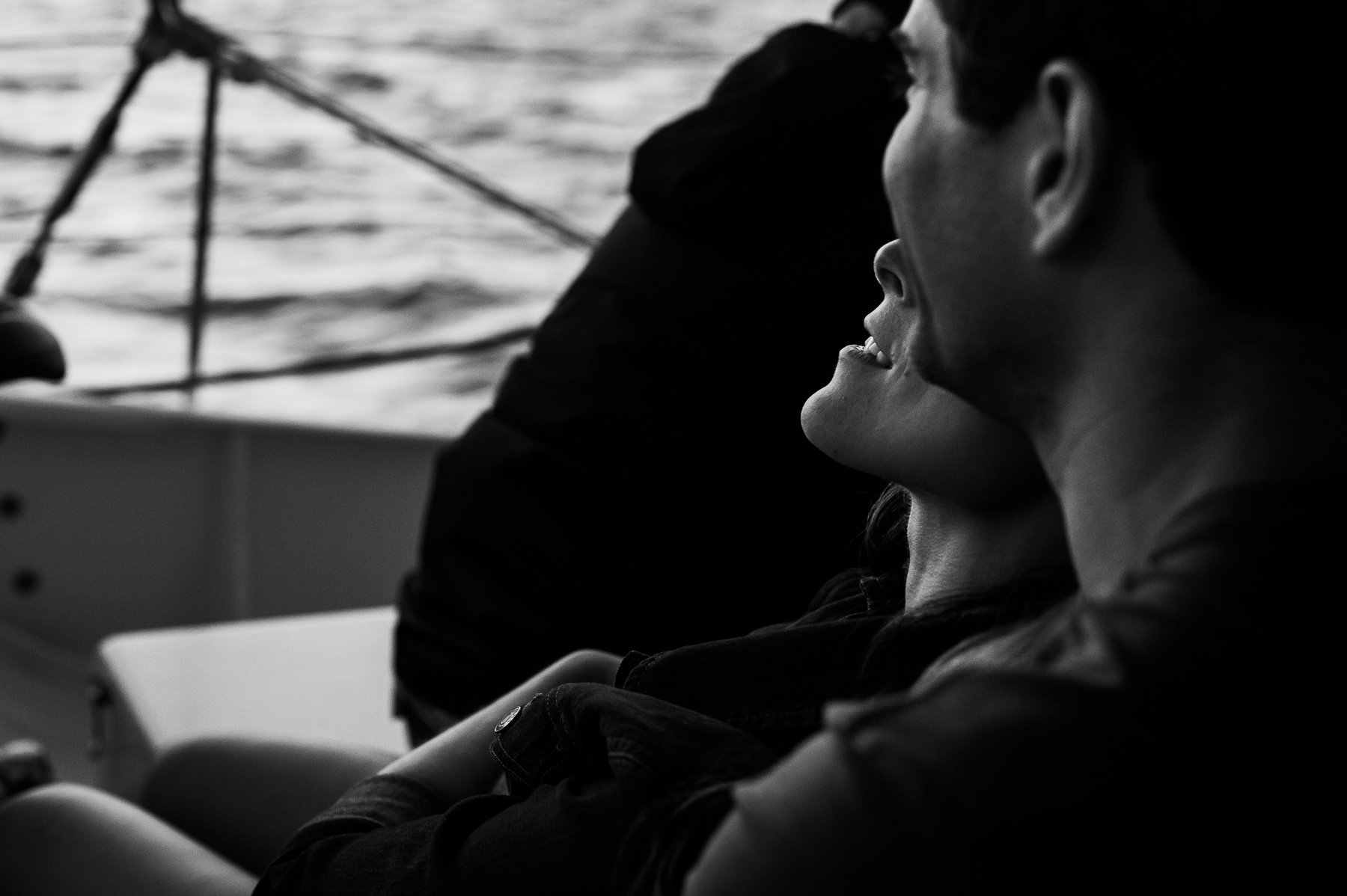 sunset boat ride couple