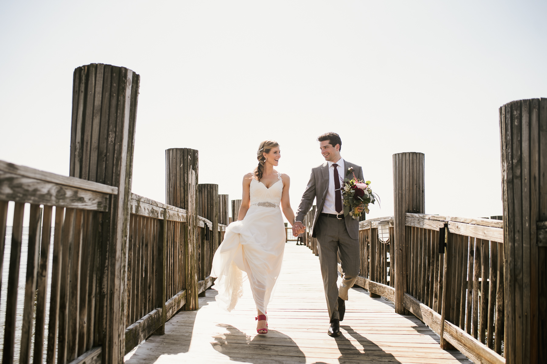 florida destination wedding fishing pier portrait