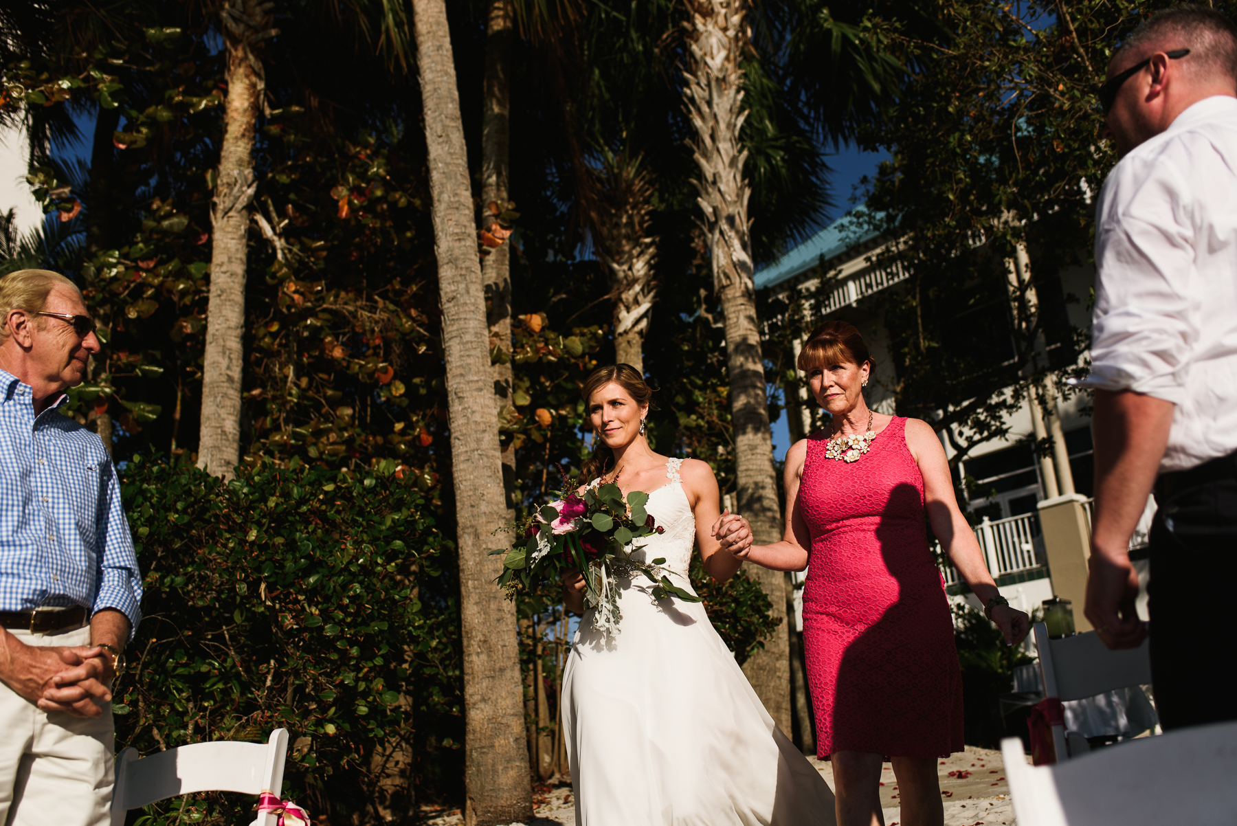 bride mom walking down aisle florida