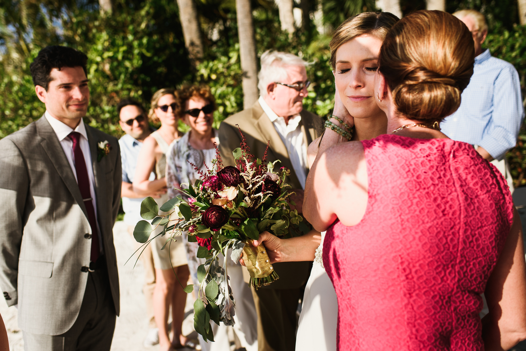 mom giving bride away moment