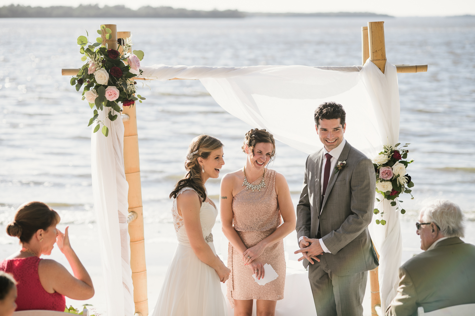 beach wedding moment
