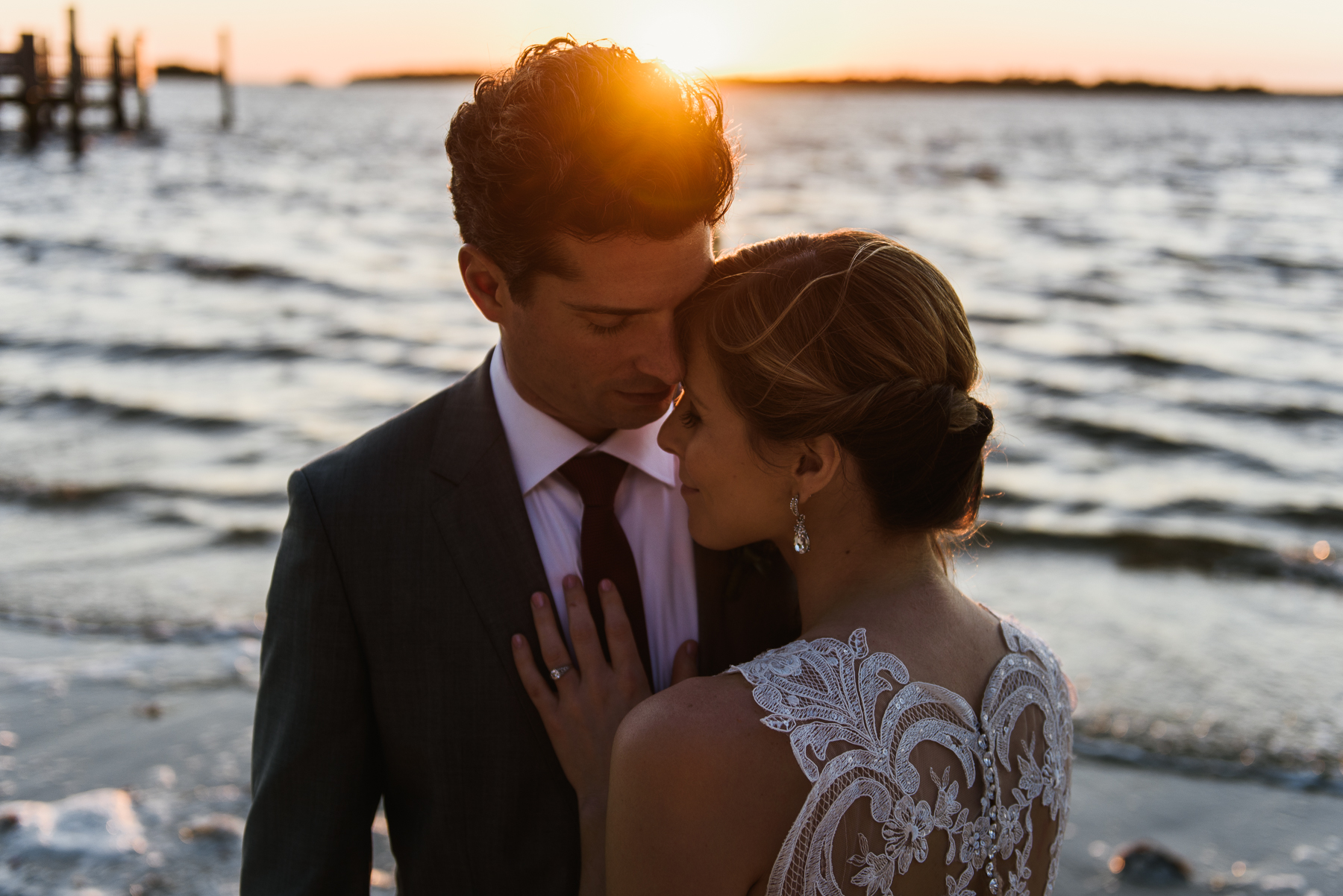 sanibel romantic sunset wedding portrait