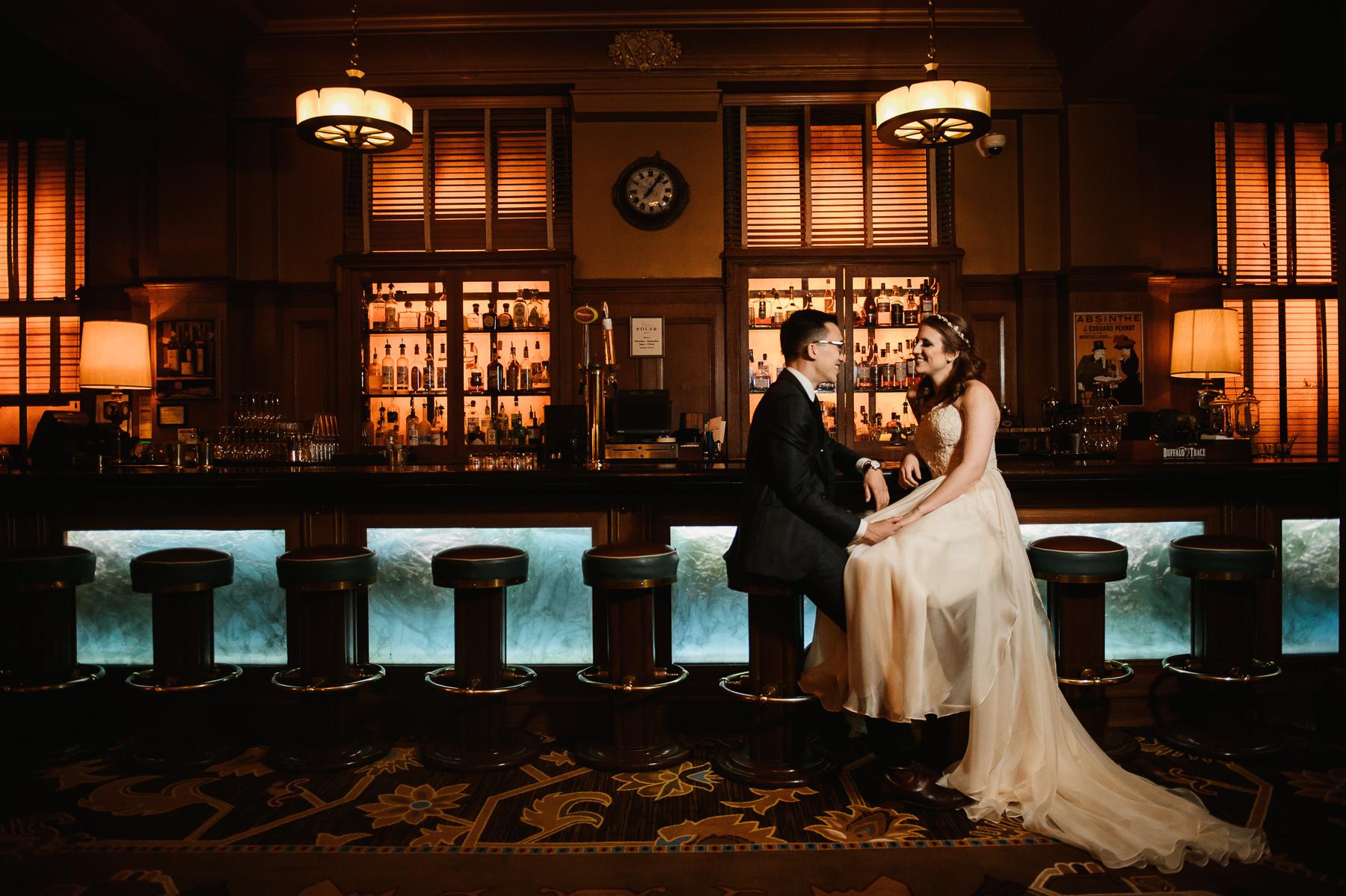 arctic club bar wedding portrait