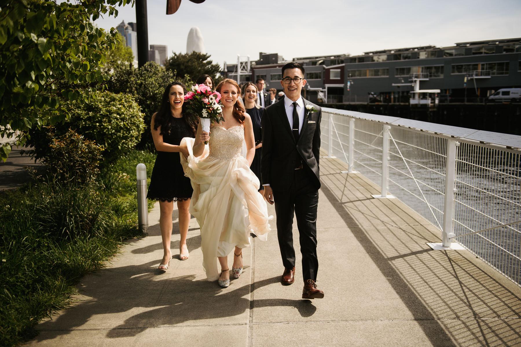 sculpture park seattle bridal party walking