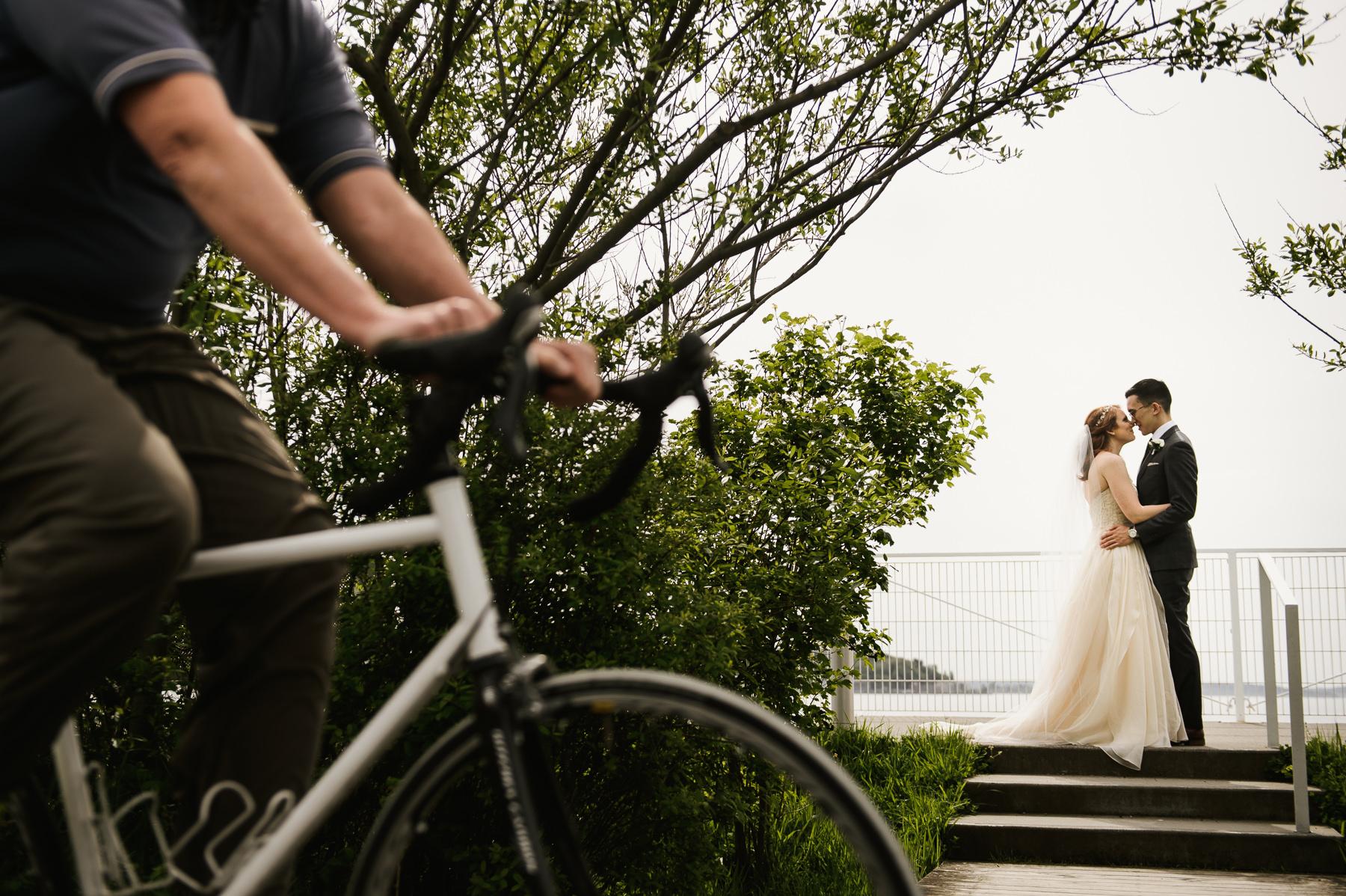 creative bike pedestrian wedding portrait