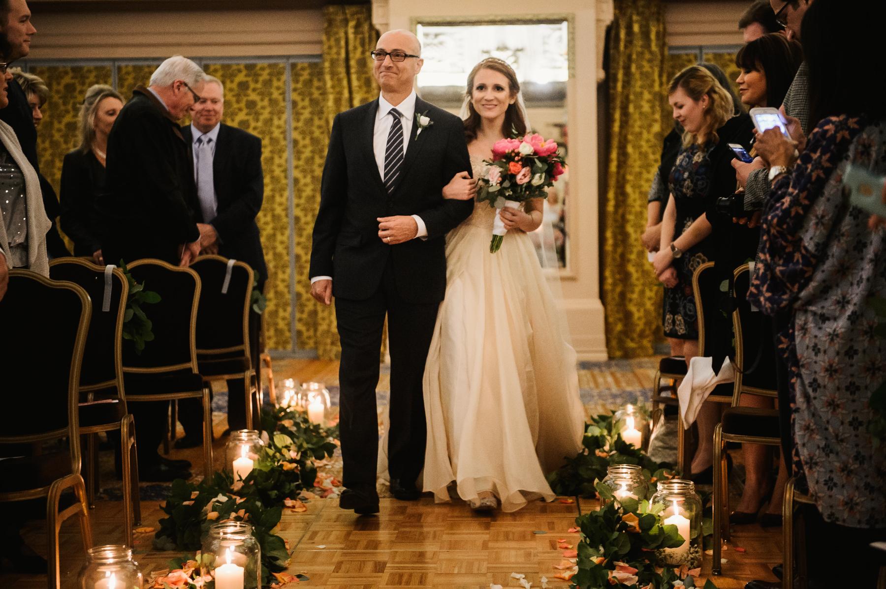 bride walks down isle arctic club