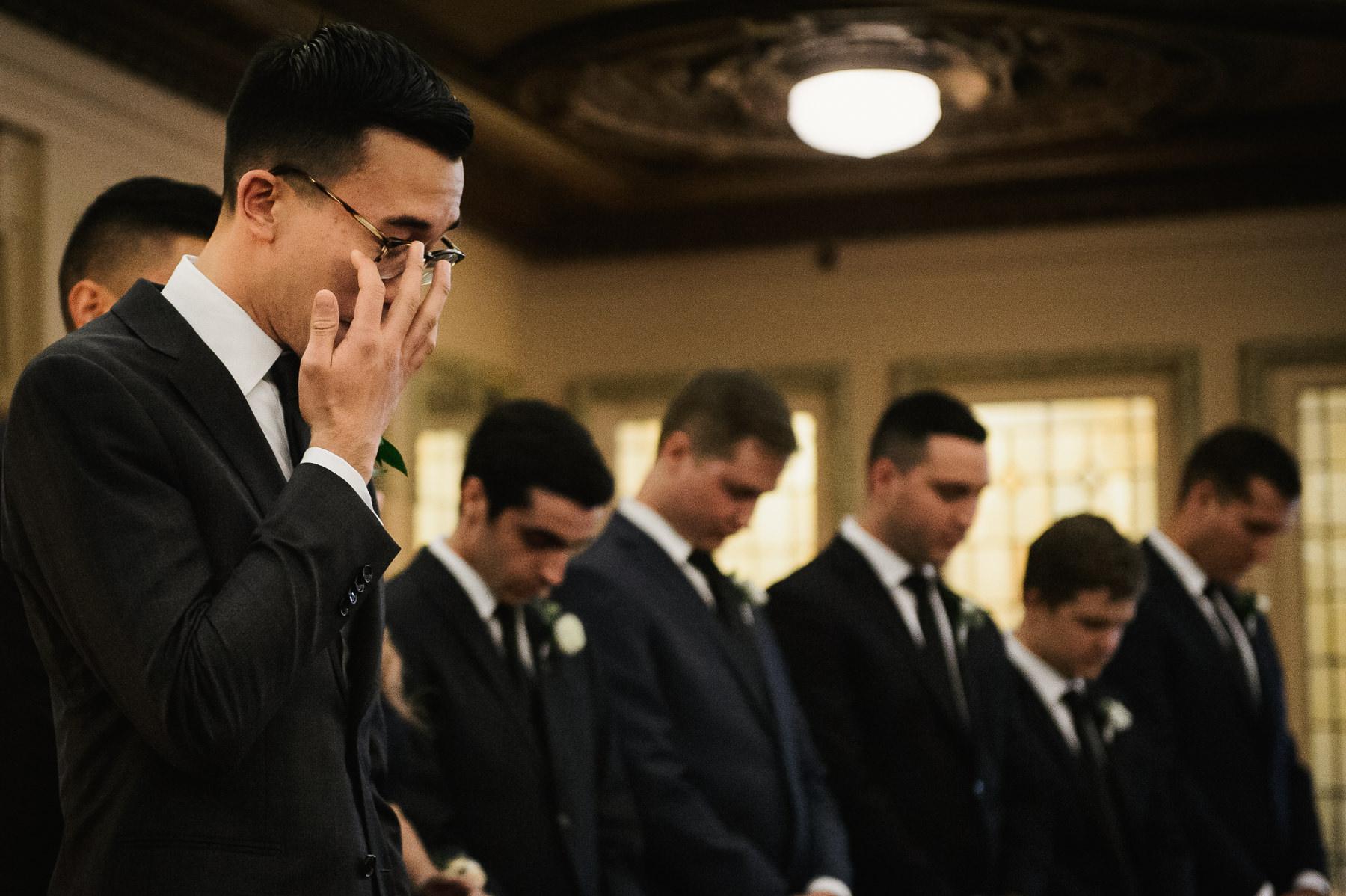 groom cry arctic club wedding