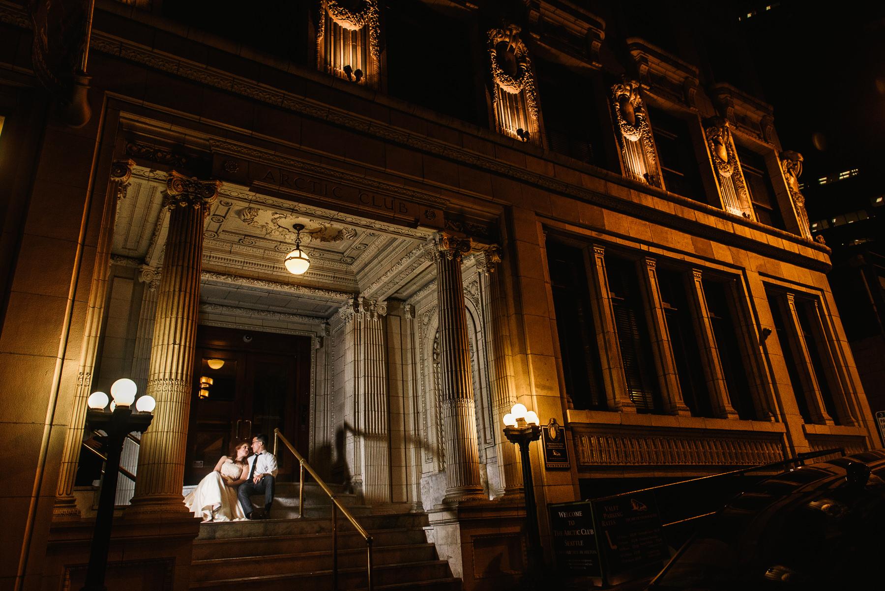 arctic club wedding portrait night