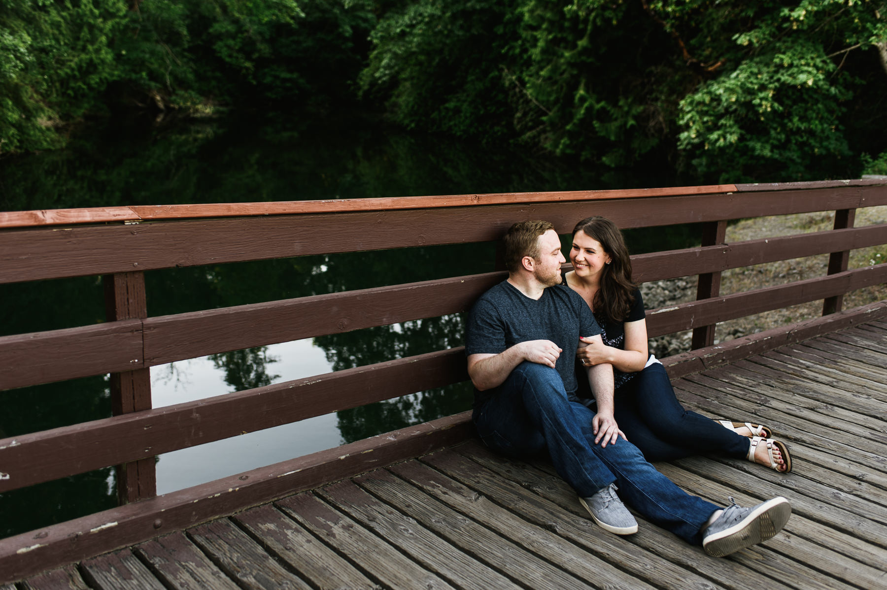 bainbridge island downtown waterfront bridge engagement