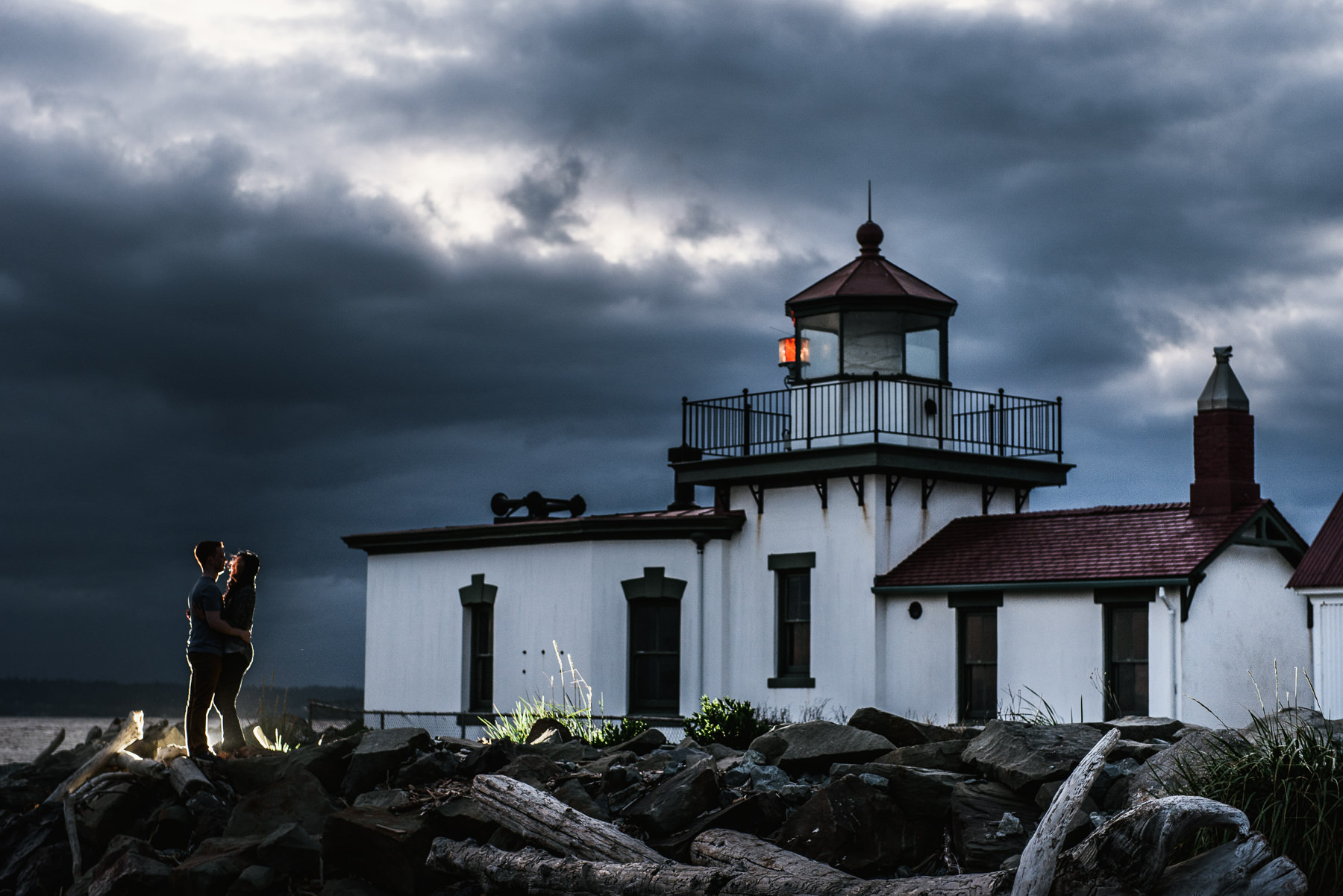 discovery park stormy lighthouse engagement