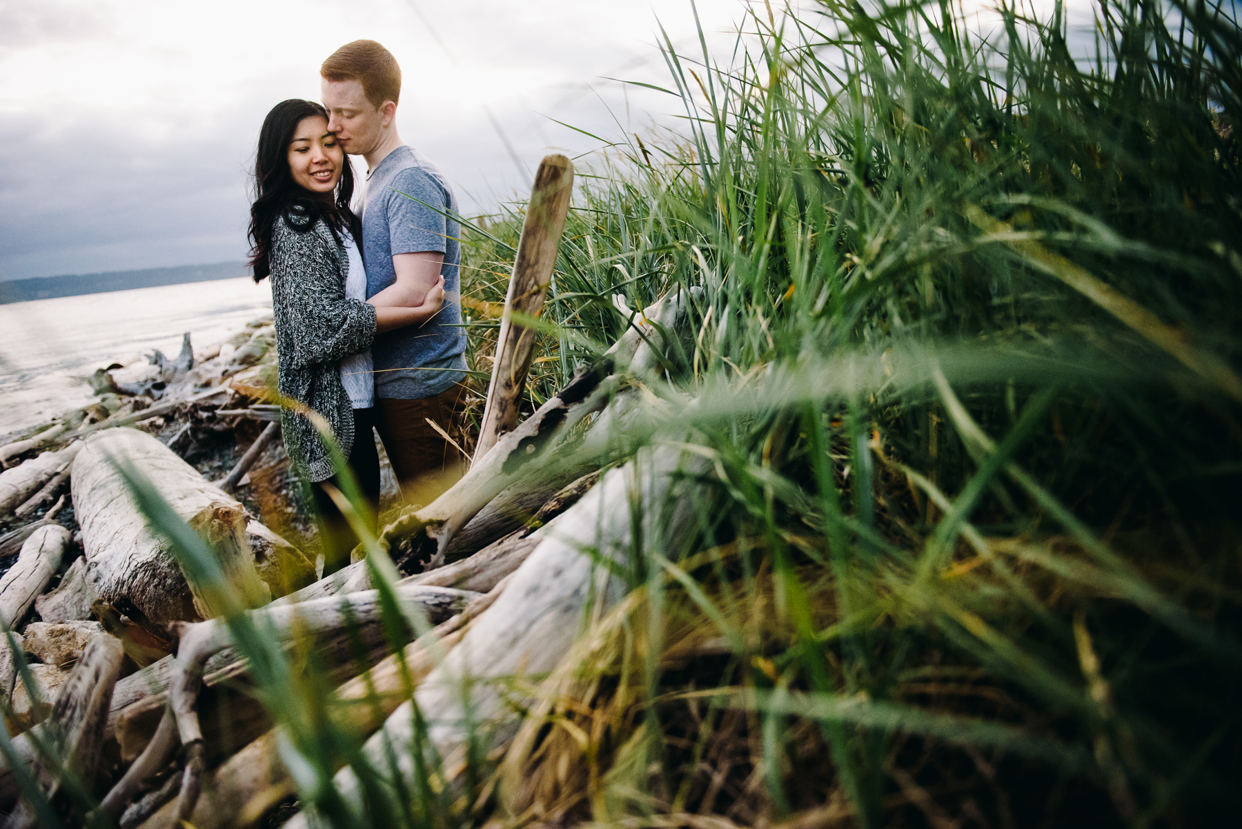 discovery park beach grass engagement