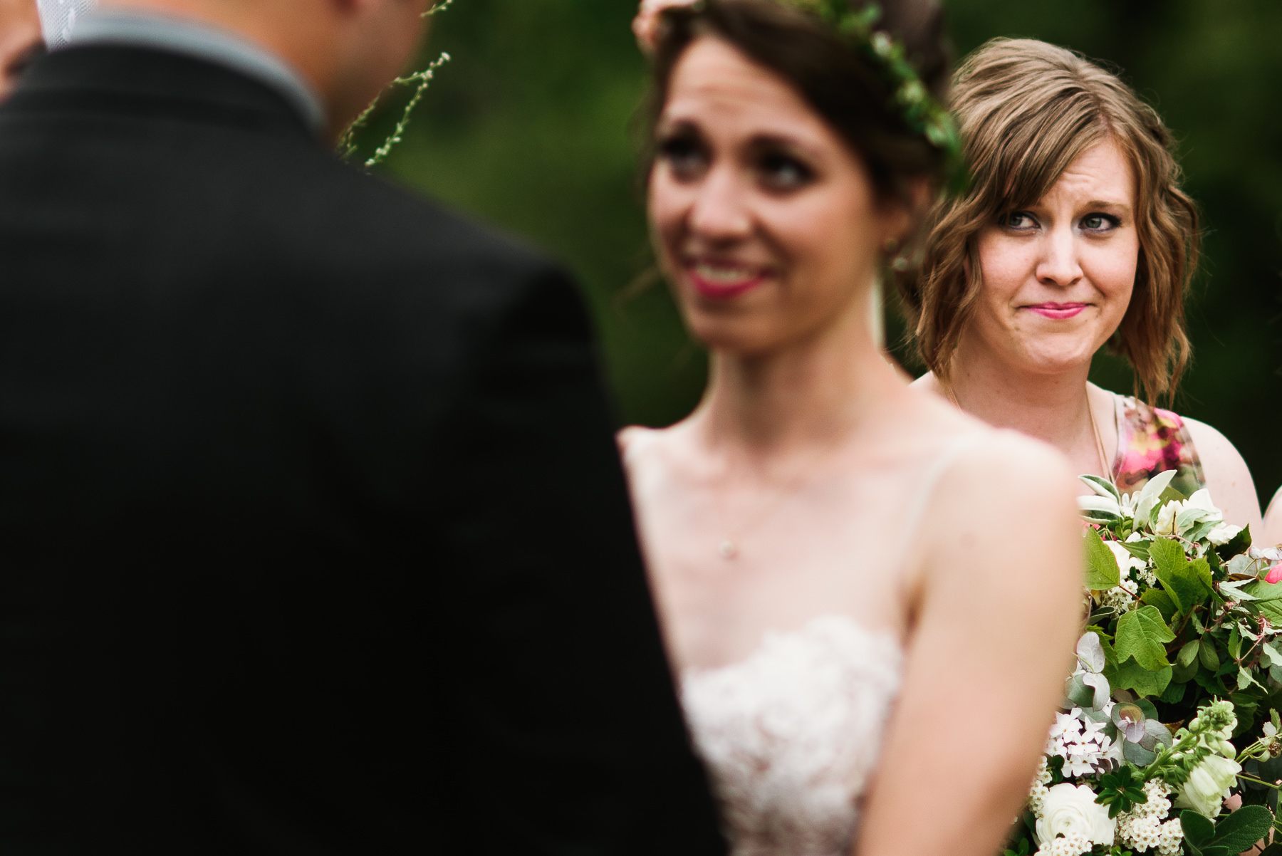 lakedale wedding ceremony crying bridesmaid