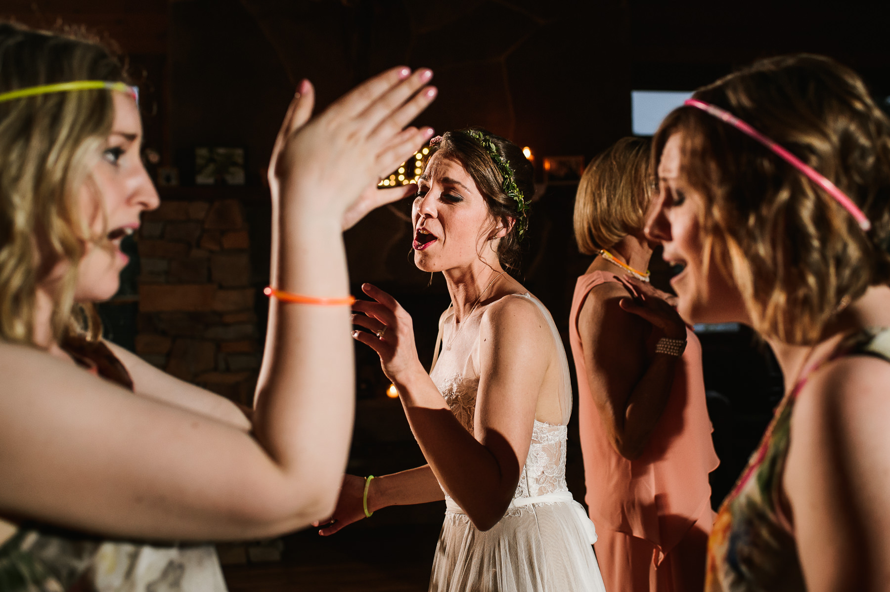 lake dale resort wedding bride and bridesmaids dancing