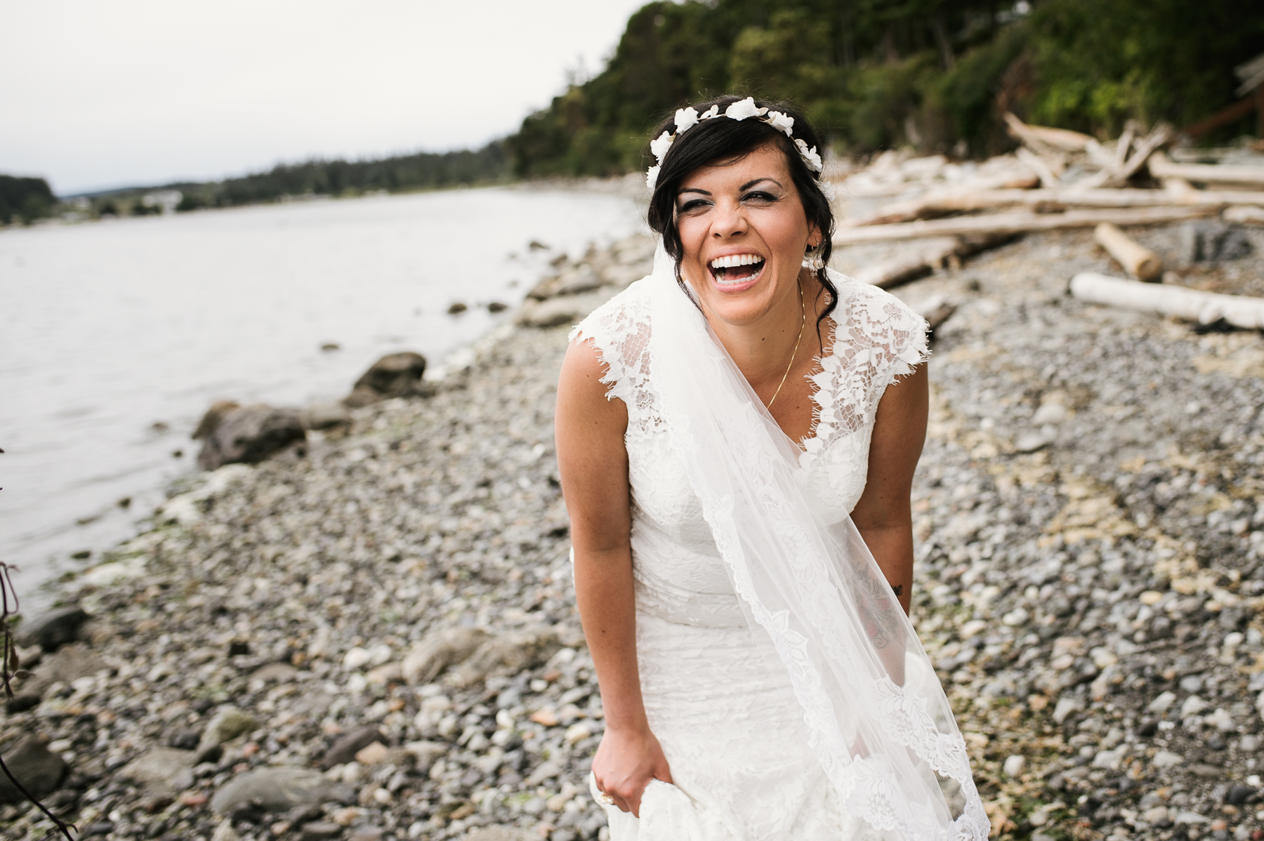 laughing bride on lopez island