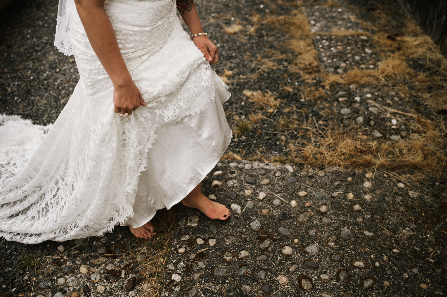 Lopez island bare foot bride