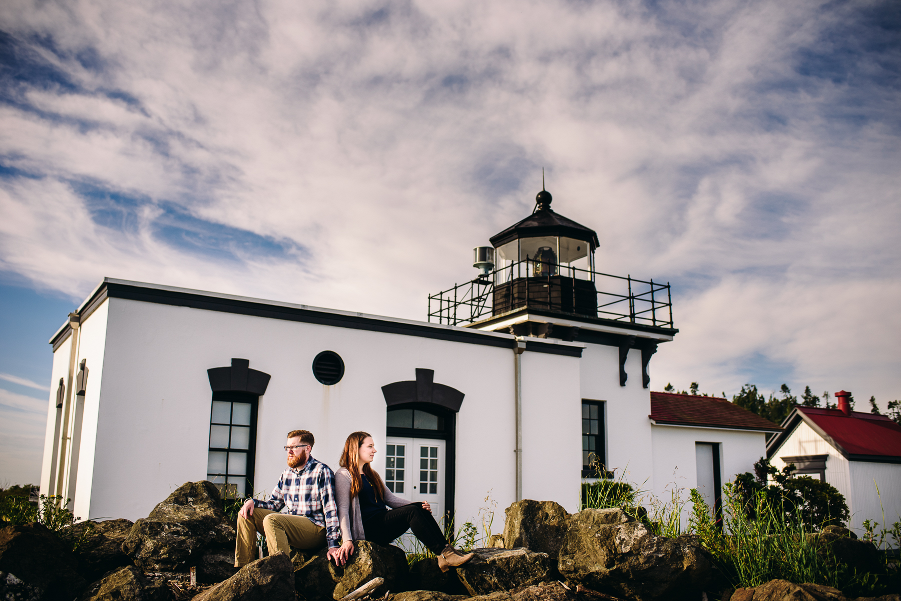 Point No Point lighthouse engagement photos