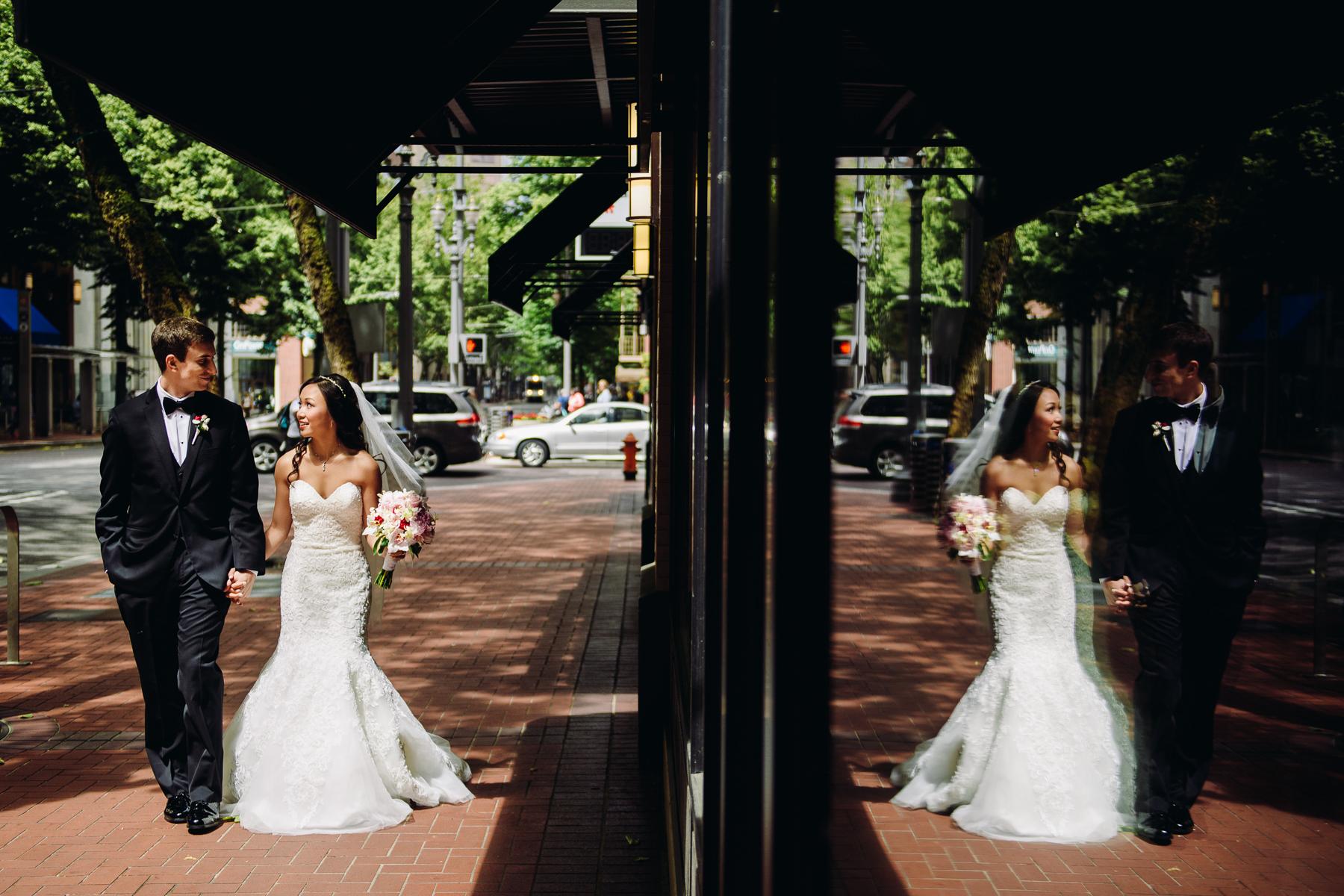 downtown portland wedding portrait