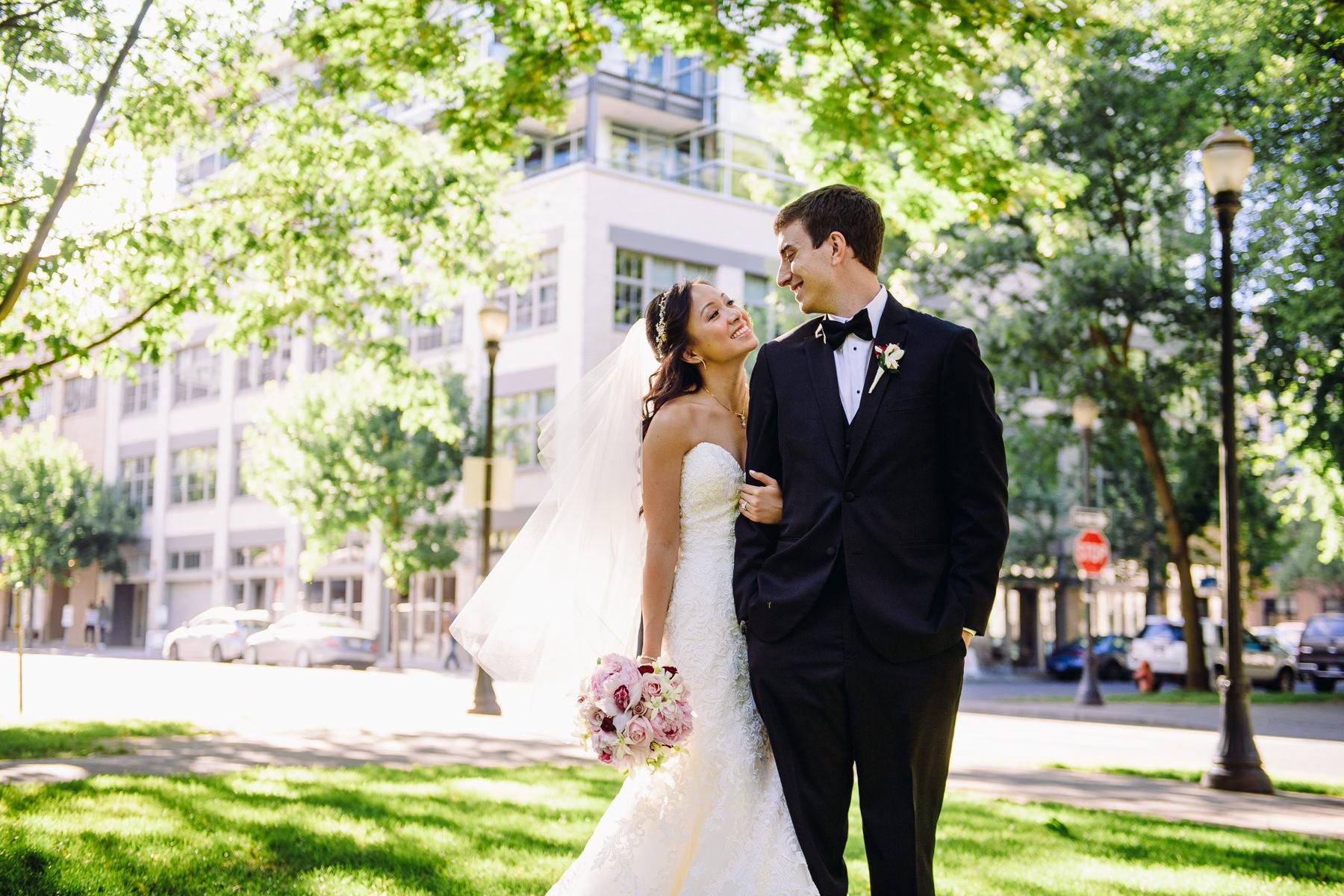 portland park blocks wedding portrait