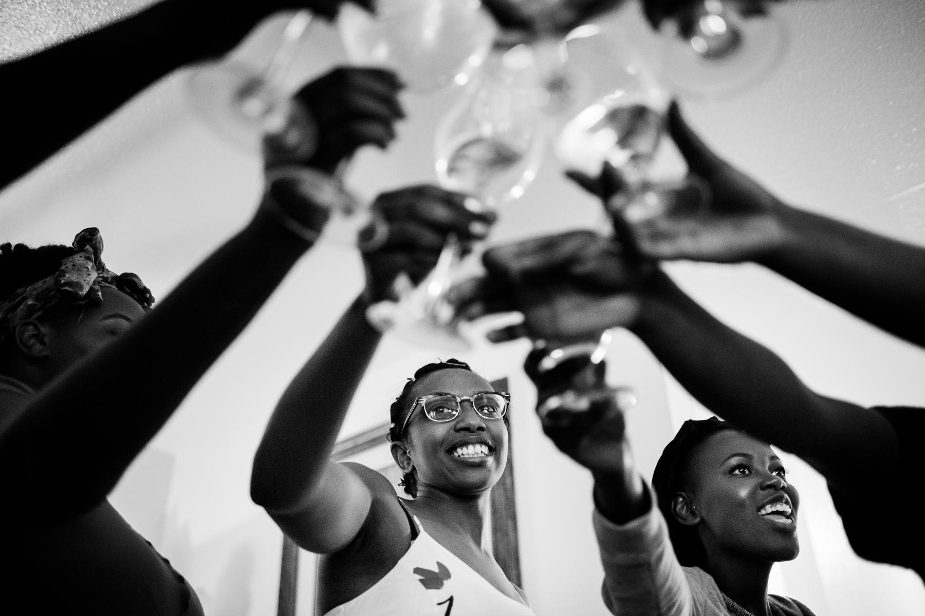 bride champagne toast