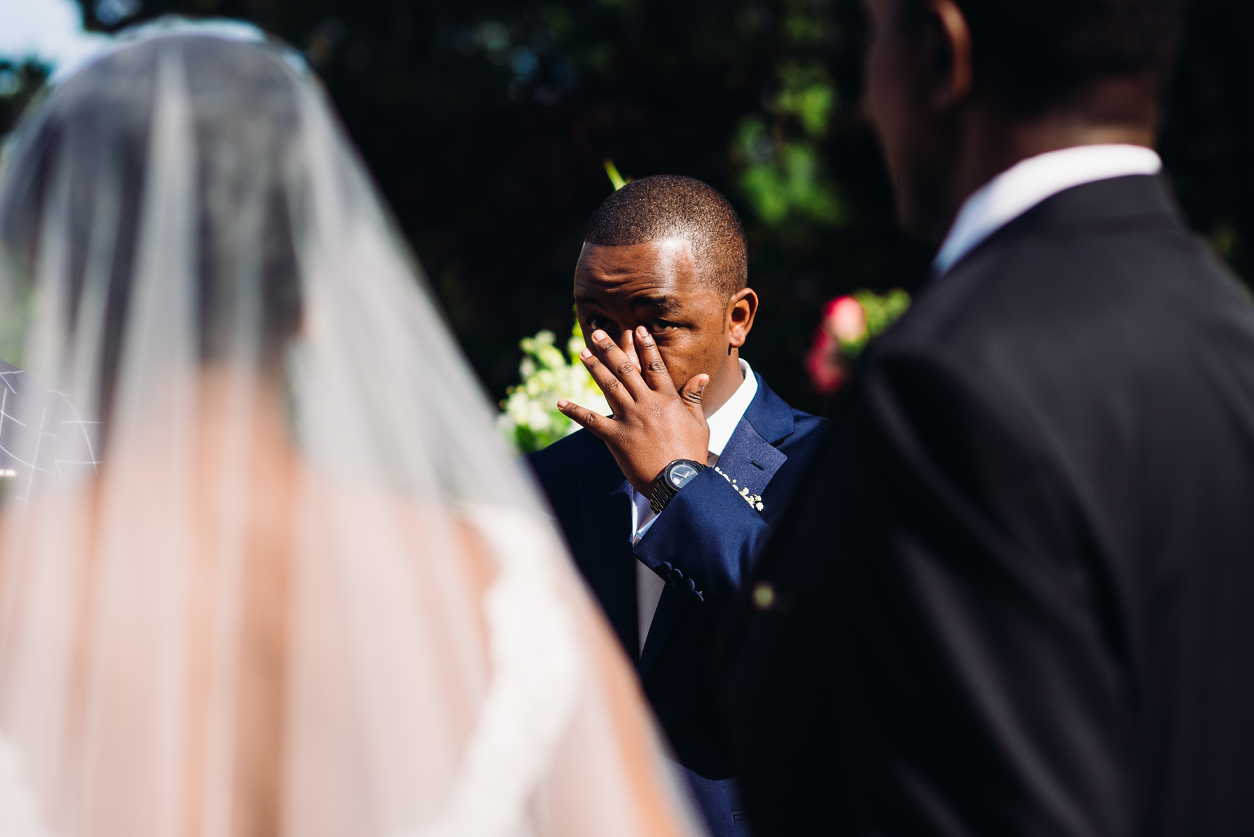 groom crying kiana lodge wedding ceremony