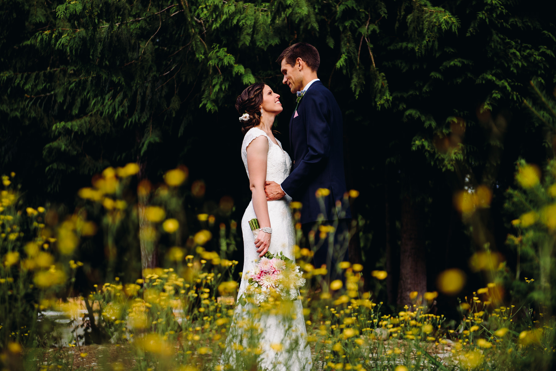 Trinity Tree Farm wild flower wedding portrait