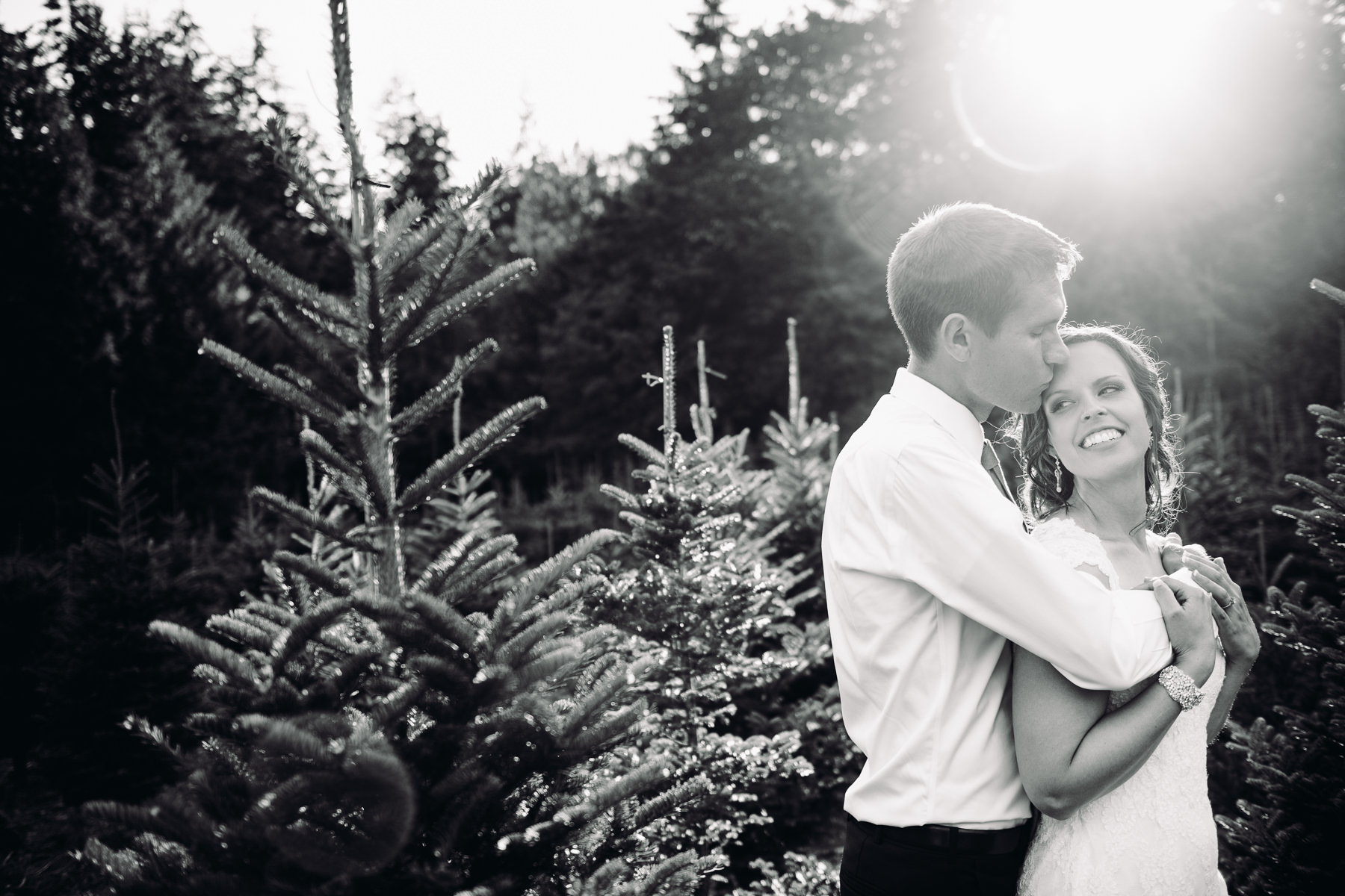 Trinity Tree Farm sunset wedding portrait