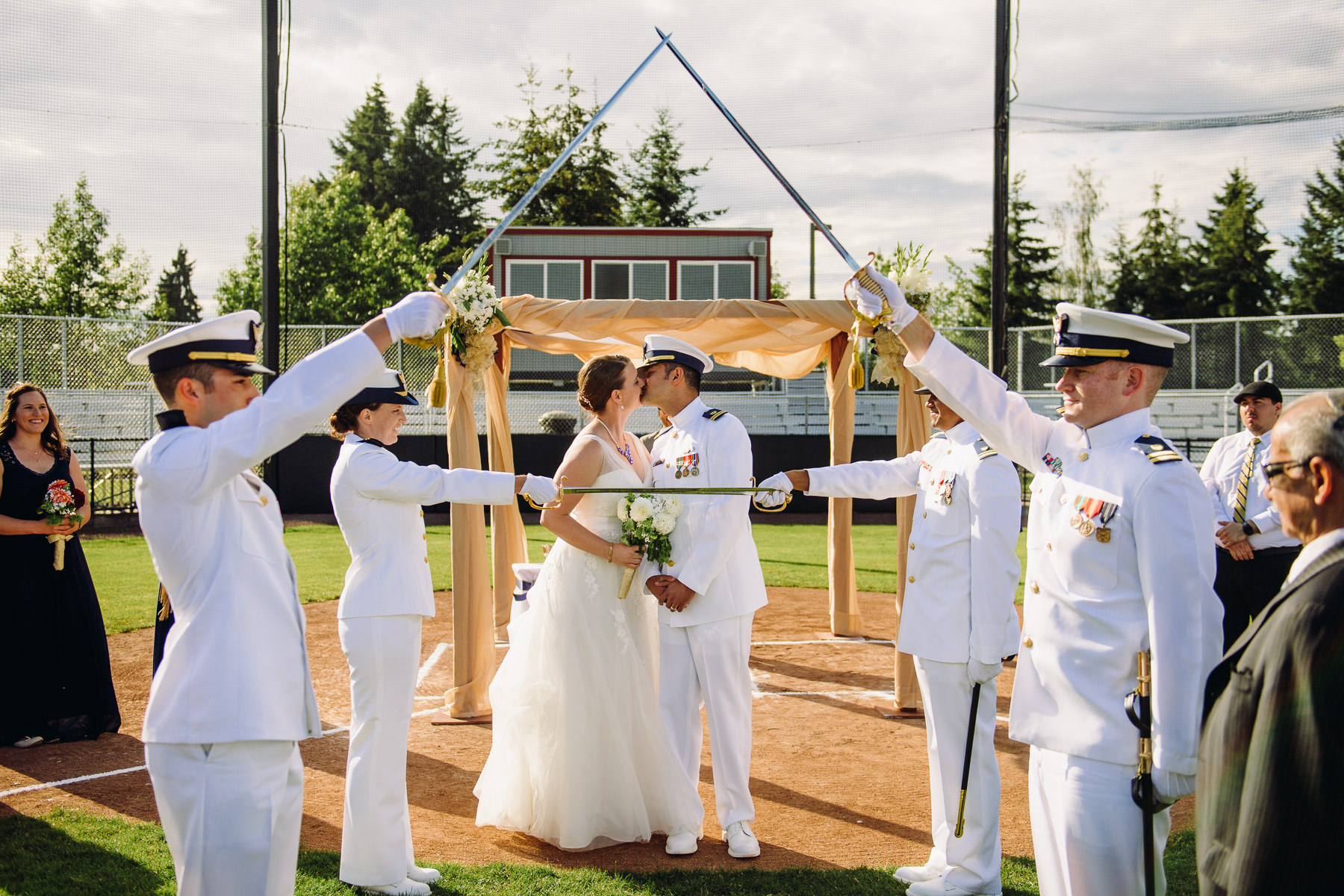 seattle baseball field wedding photos