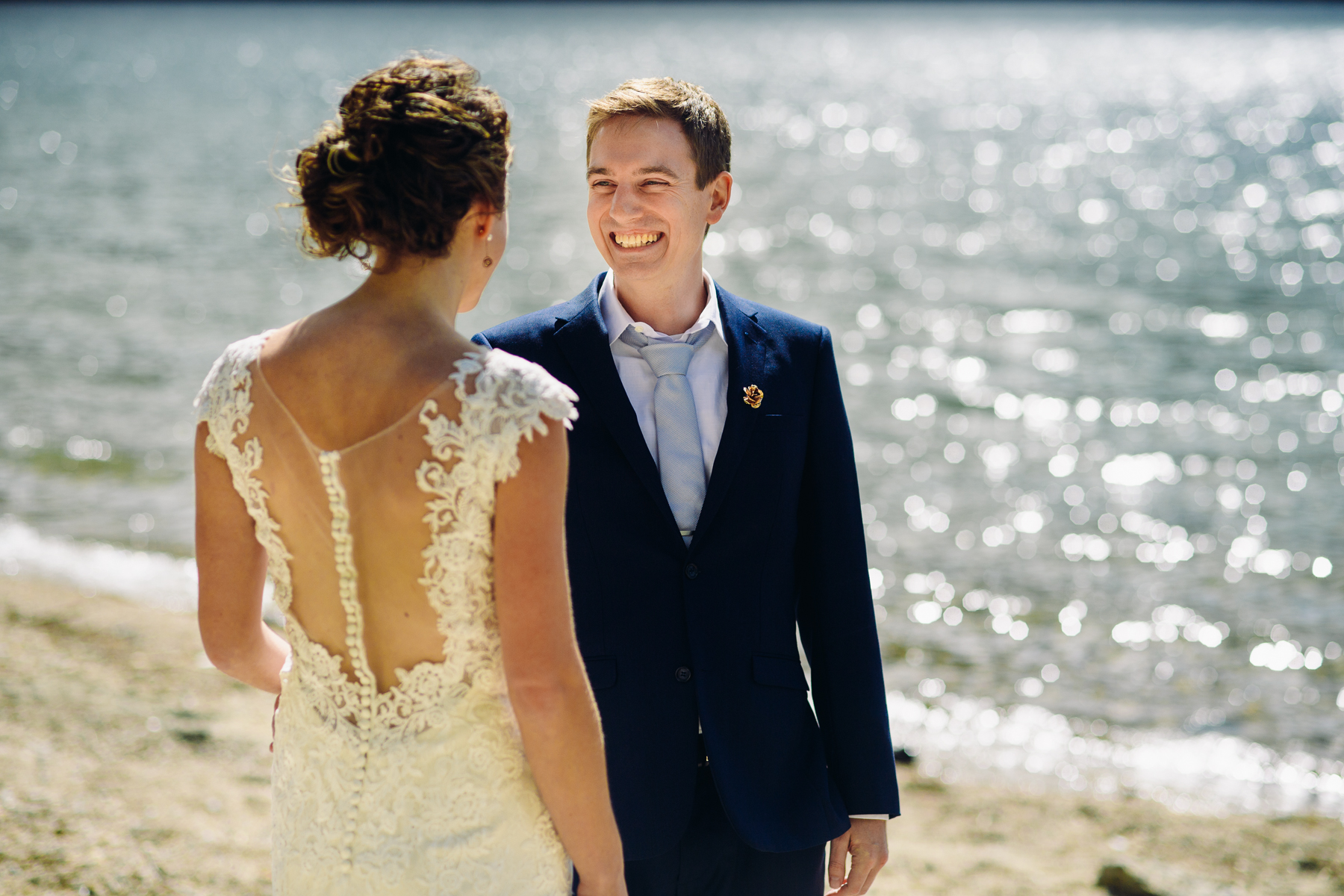 lake Wenatchee groom reaction first look