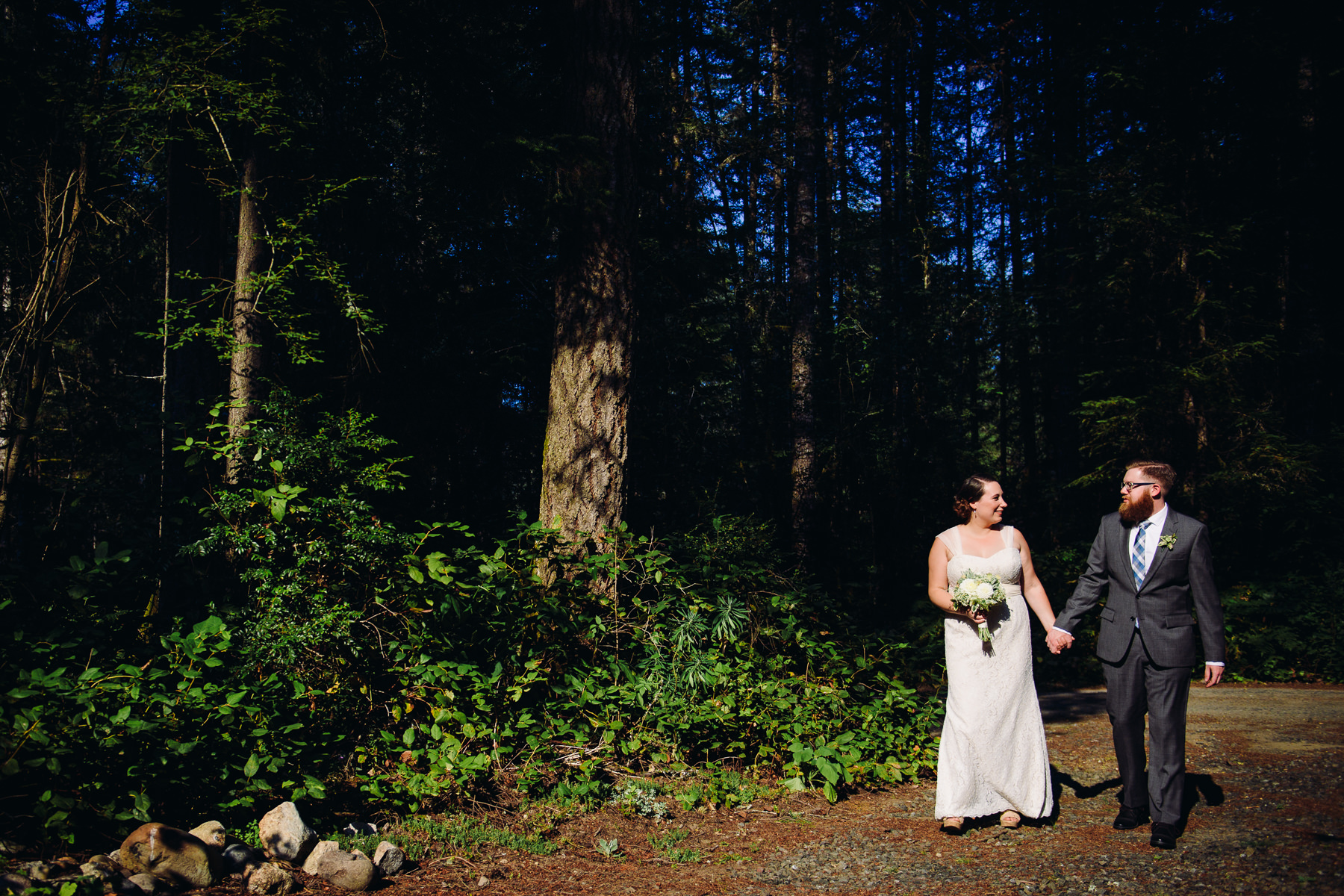 kitsap forest wedding portrait