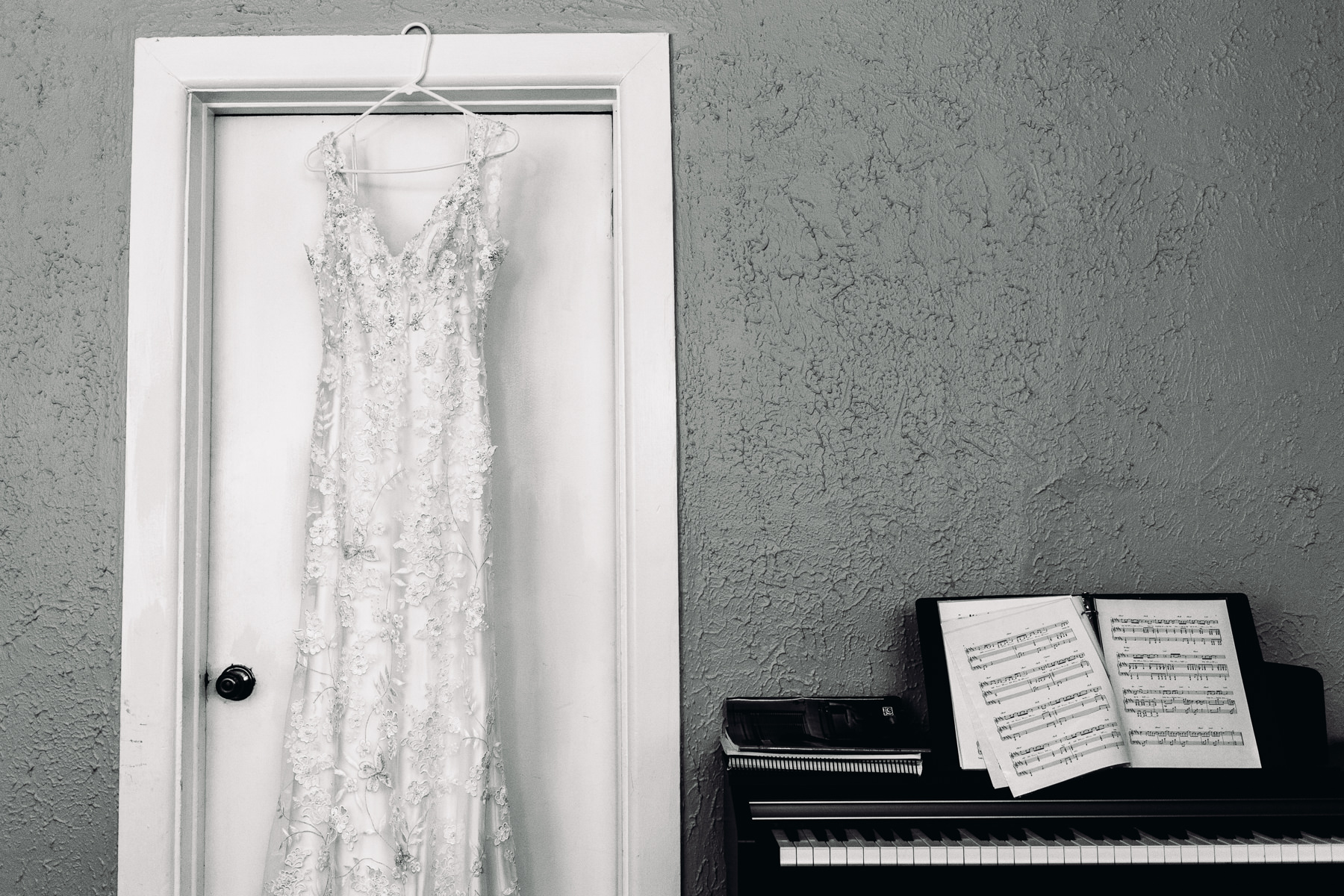 wedding dress and piano