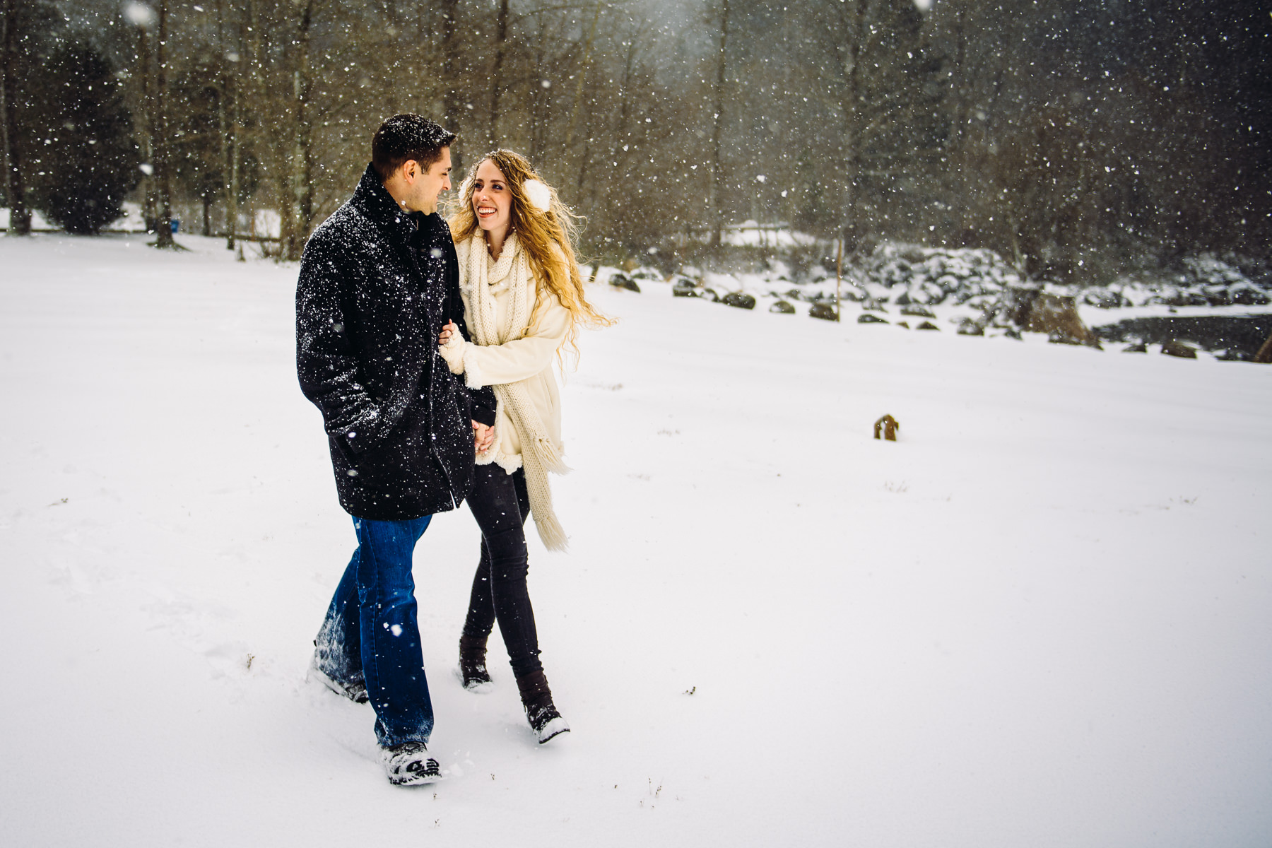 snowy seattle engagement session