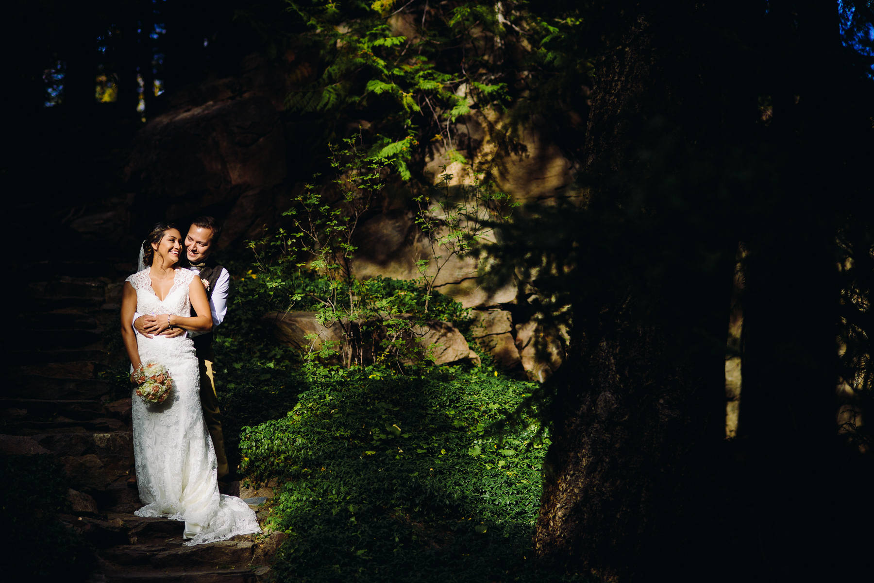 dramatic ohme gardens wedding portrait