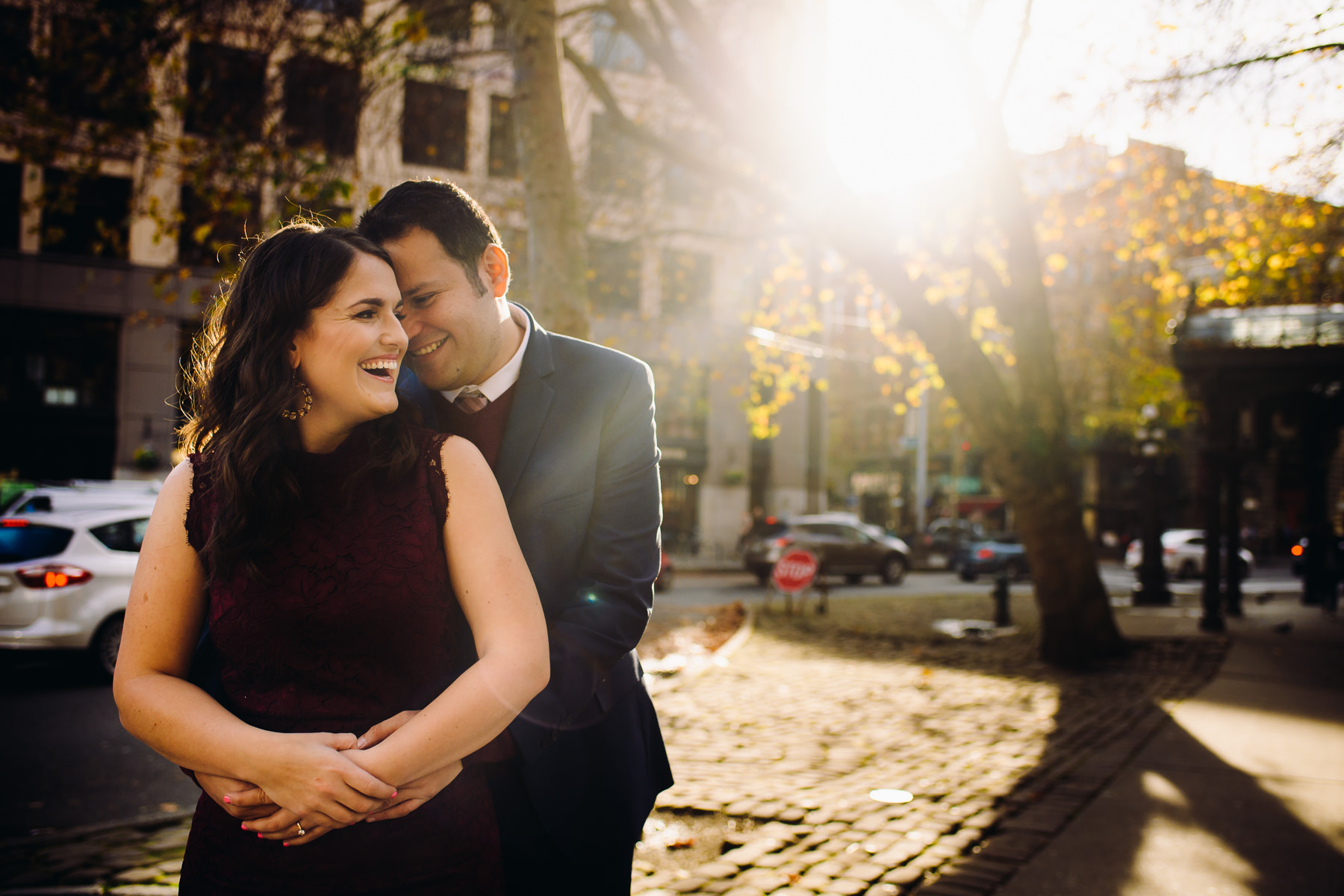 pioneer square laughing wedding photos