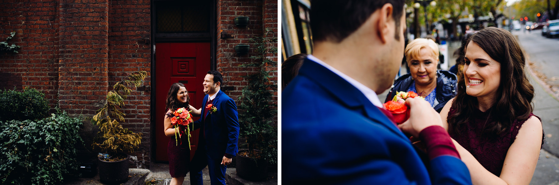 seattle alley way wedding photos
