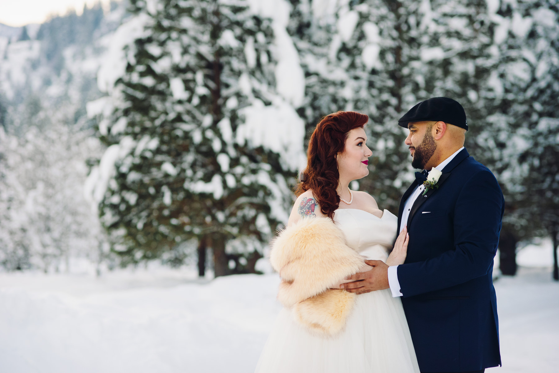 winter wedding venue portrait