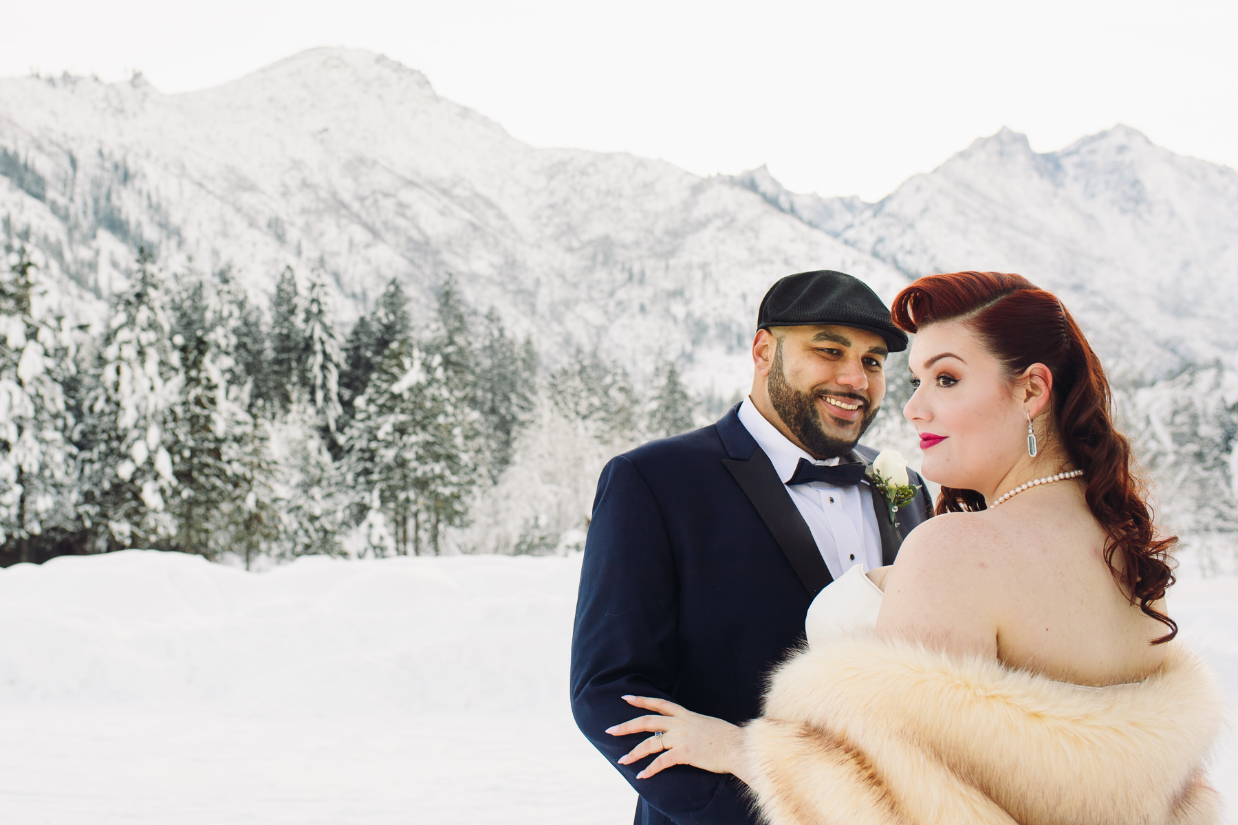 sleeping lady resort winter wedding portrait