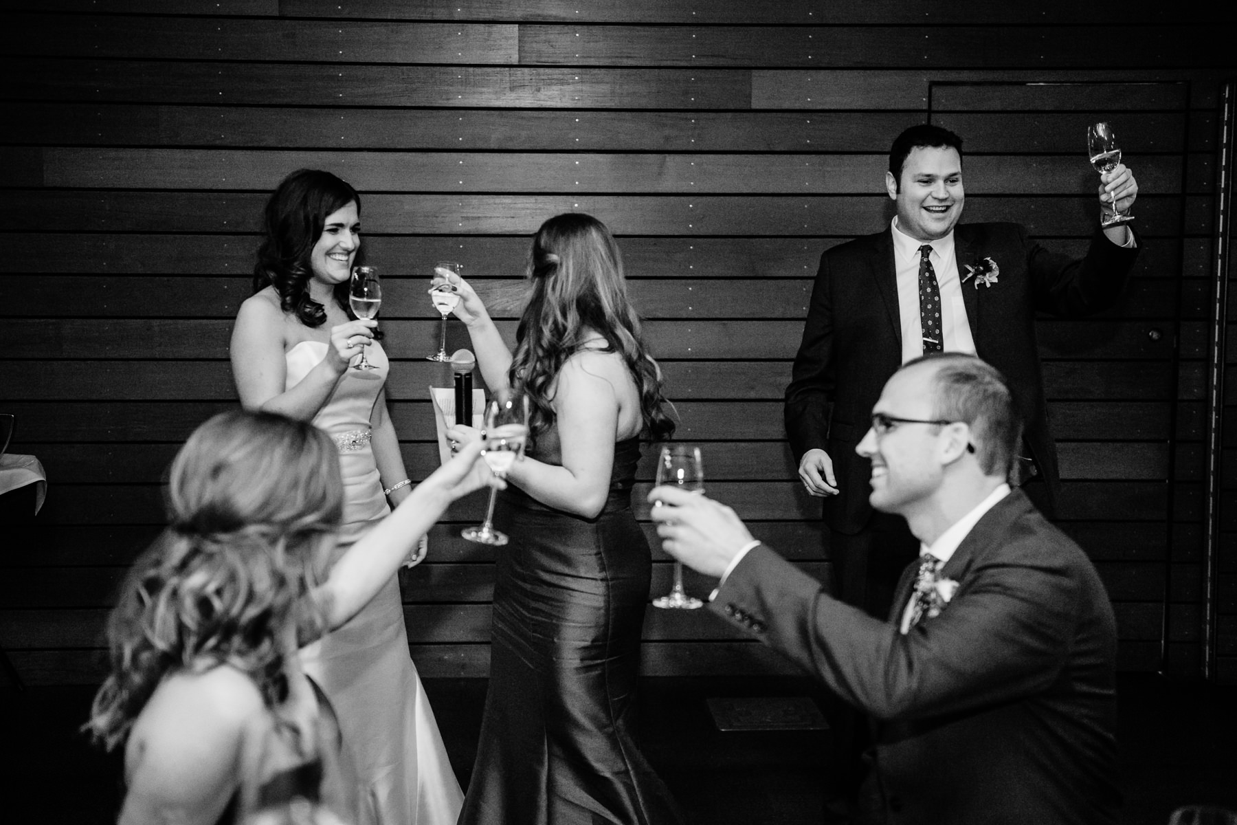 Novelty Hill Januik Winery Wedding toasts
