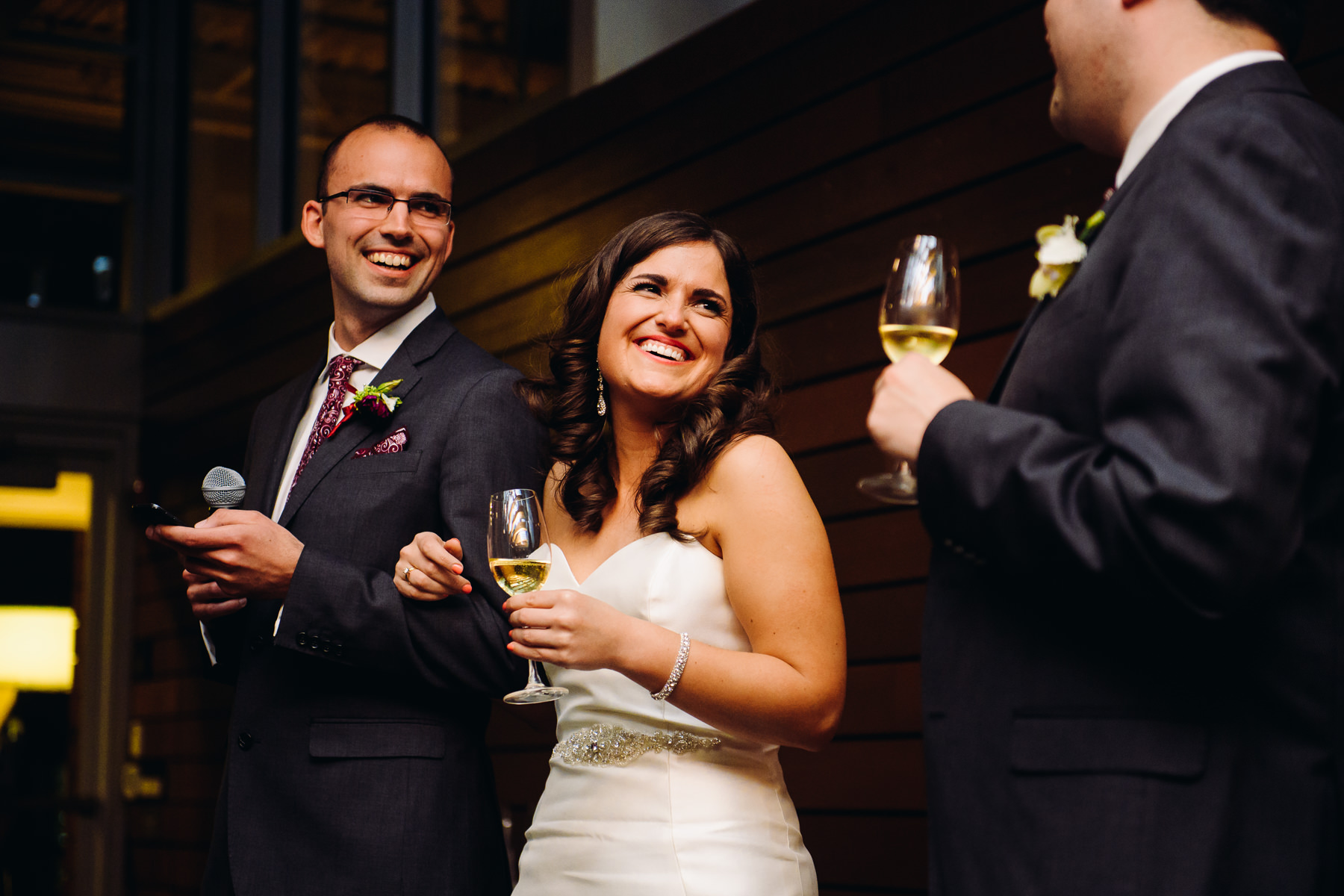 Novelty Hill Januik Winery bride and brother toast