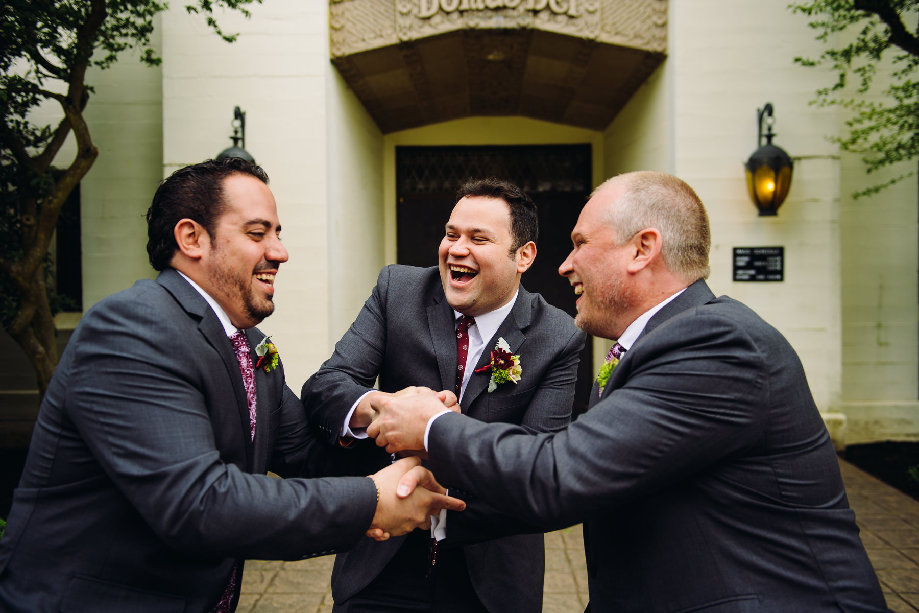 St. Joseph Catholic Church groomsmen moment