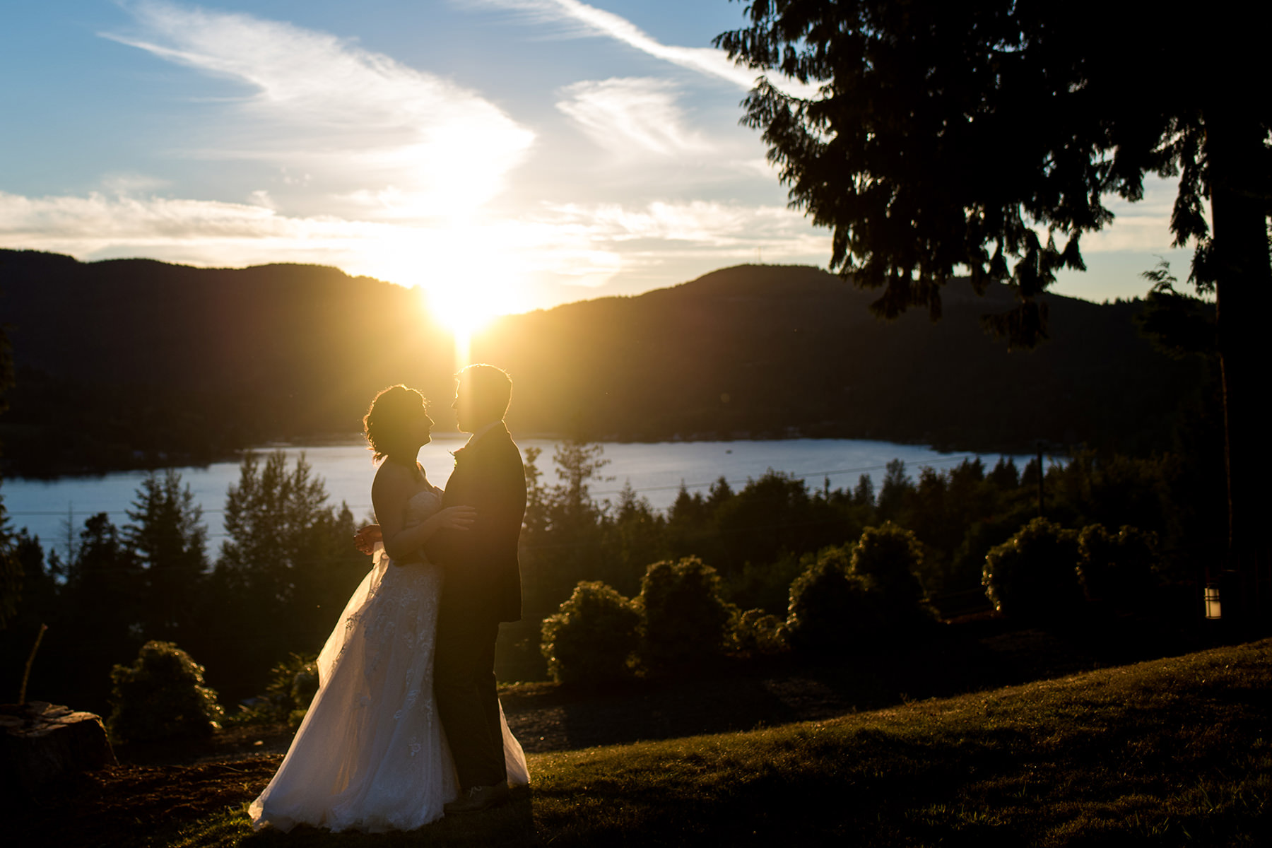 lake samish sunset wedding portrait