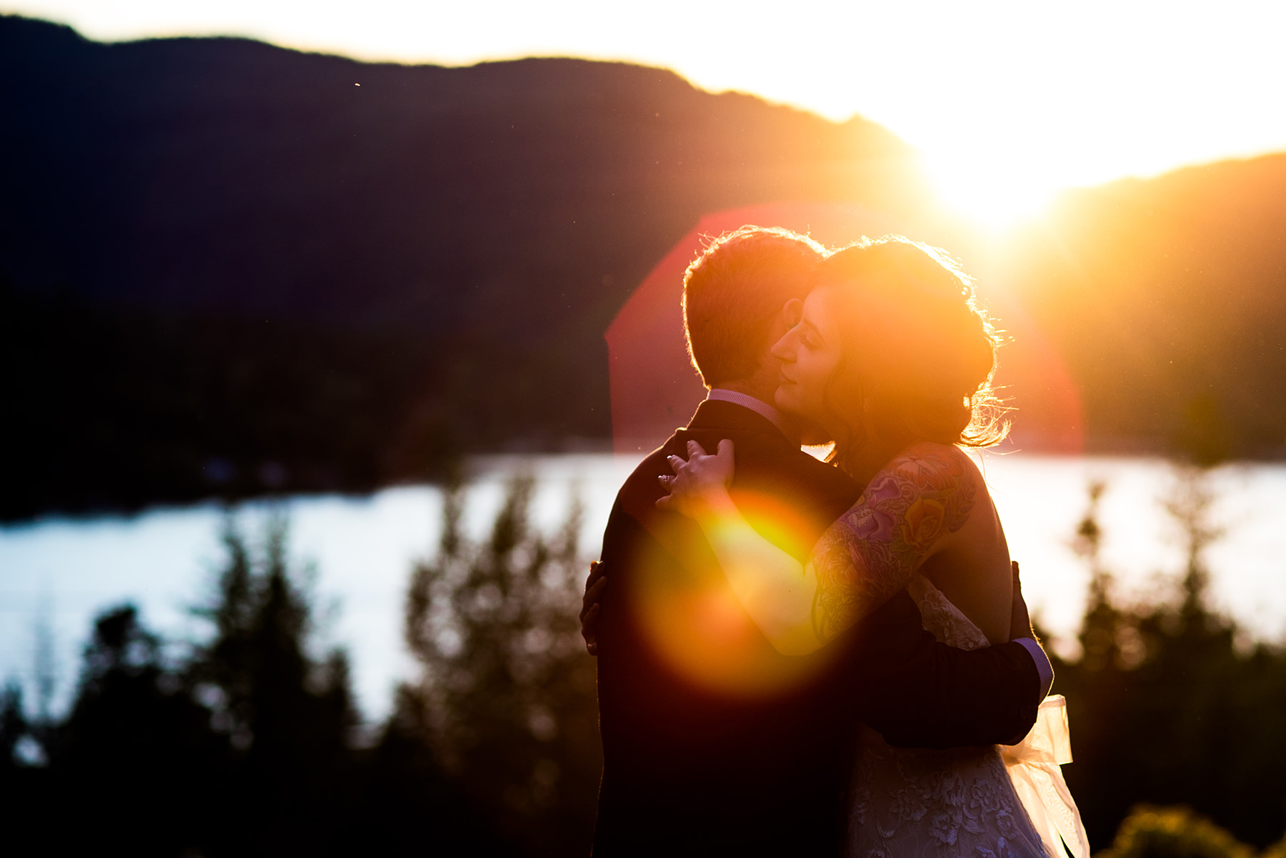 creative wedding portraits on lake samish